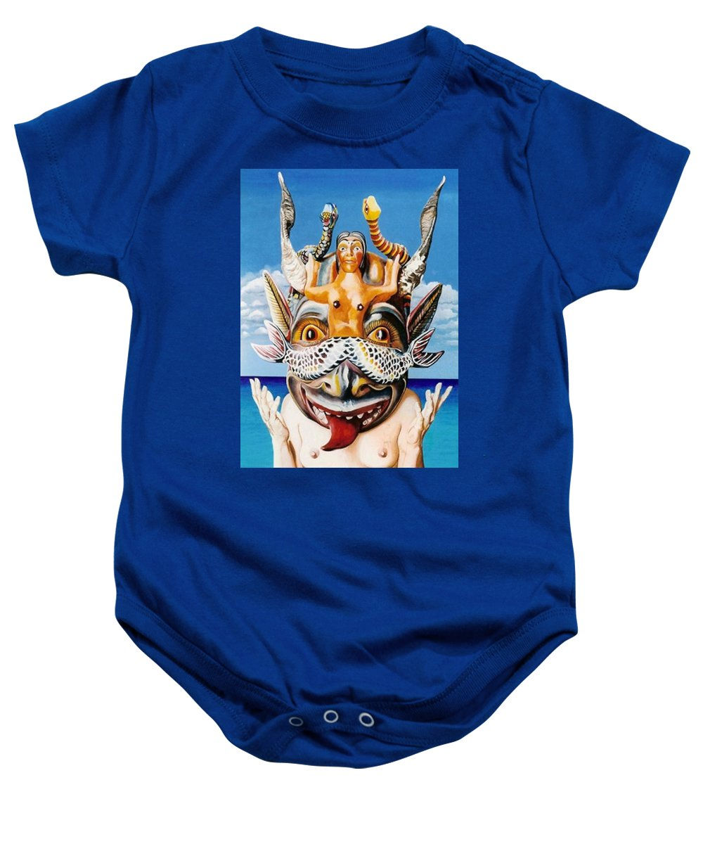 La Sirena Baby Onesie featuring the painting La Sirena by Michael Earney