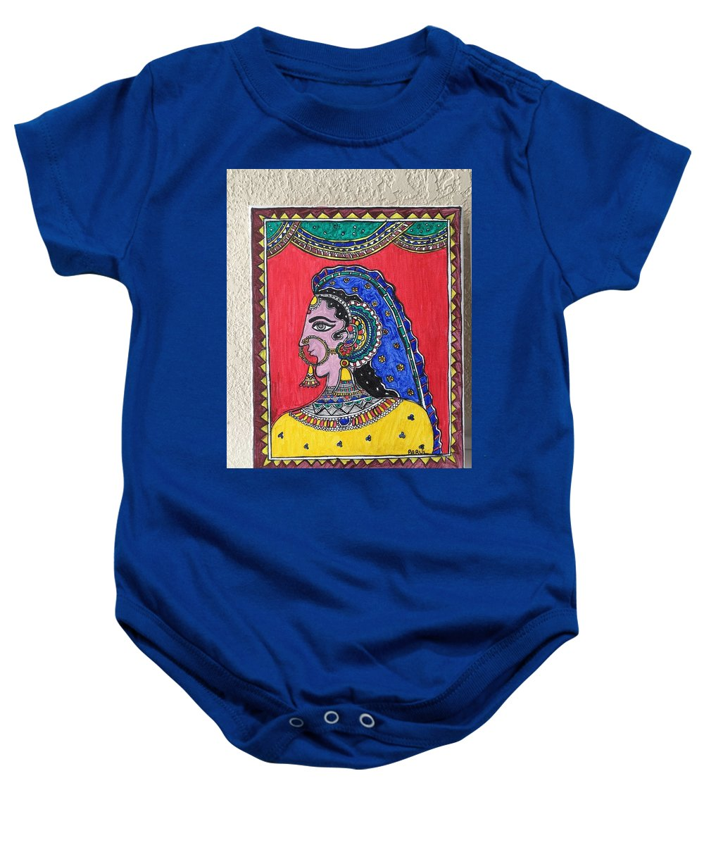 Madhubani Baby Onesie featuring the painting Madhubani by Parul Singh