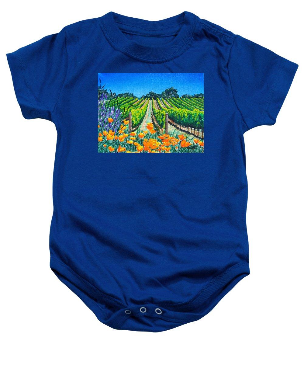 Vineyard Baby Onesie featuring the painting Presidio Vineyard by Angie Hamlin