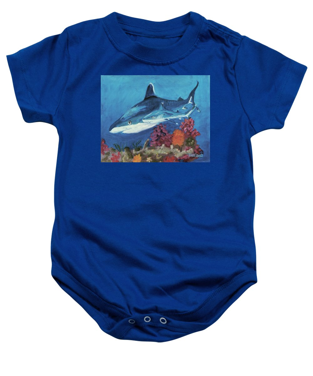 Sharks Baby Onesie featuring the painting 2 Reef Sharks by Terry Lewey