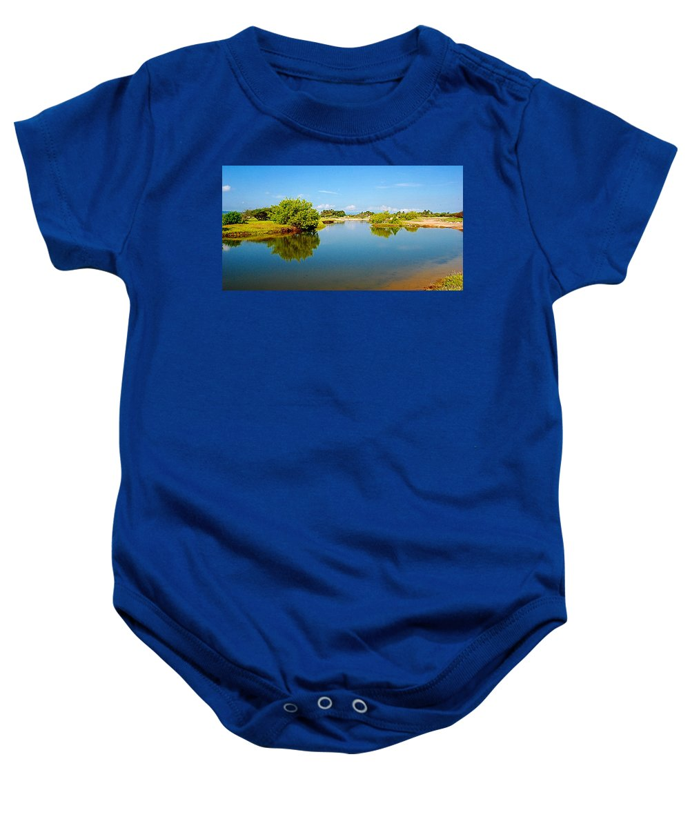 Reflects Baby Onesie featuring the photograph Reflects by Galeria Trompiz