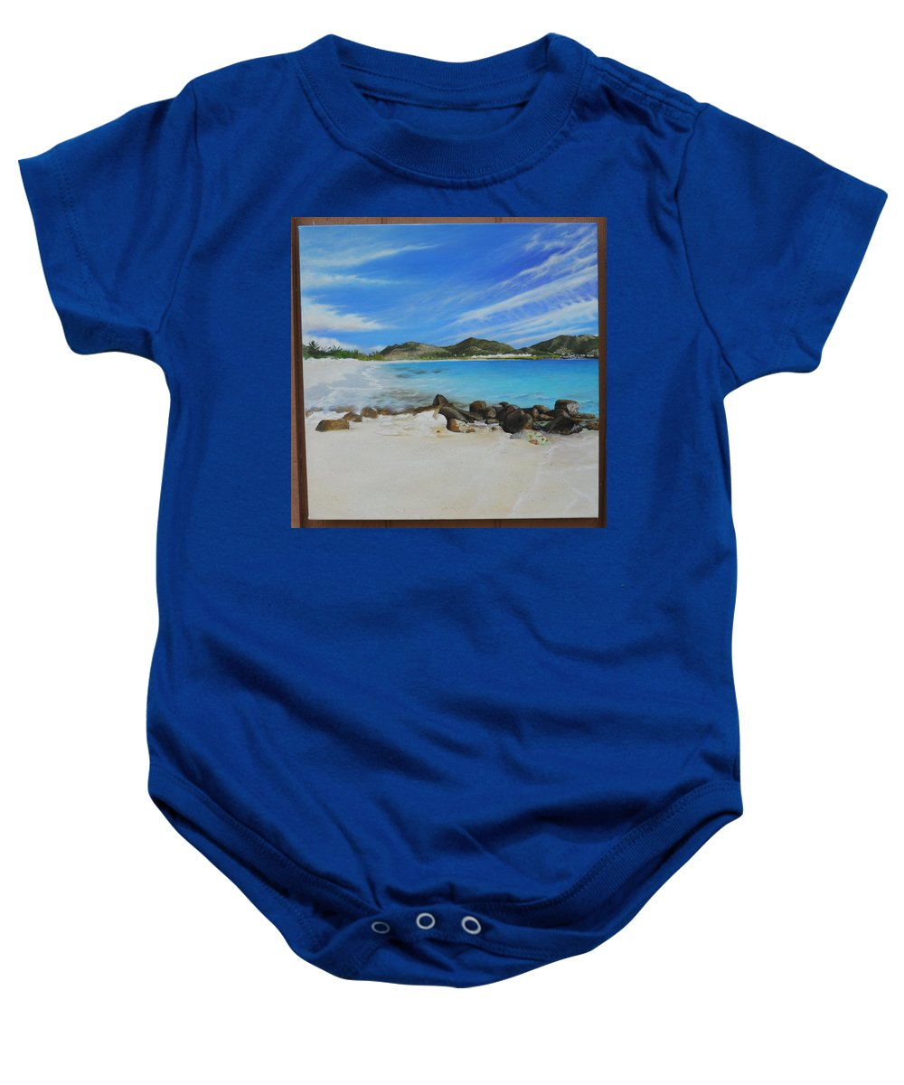 Baby Onesie featuring the painting Wip- Orient Beach by Cindy D Chinn