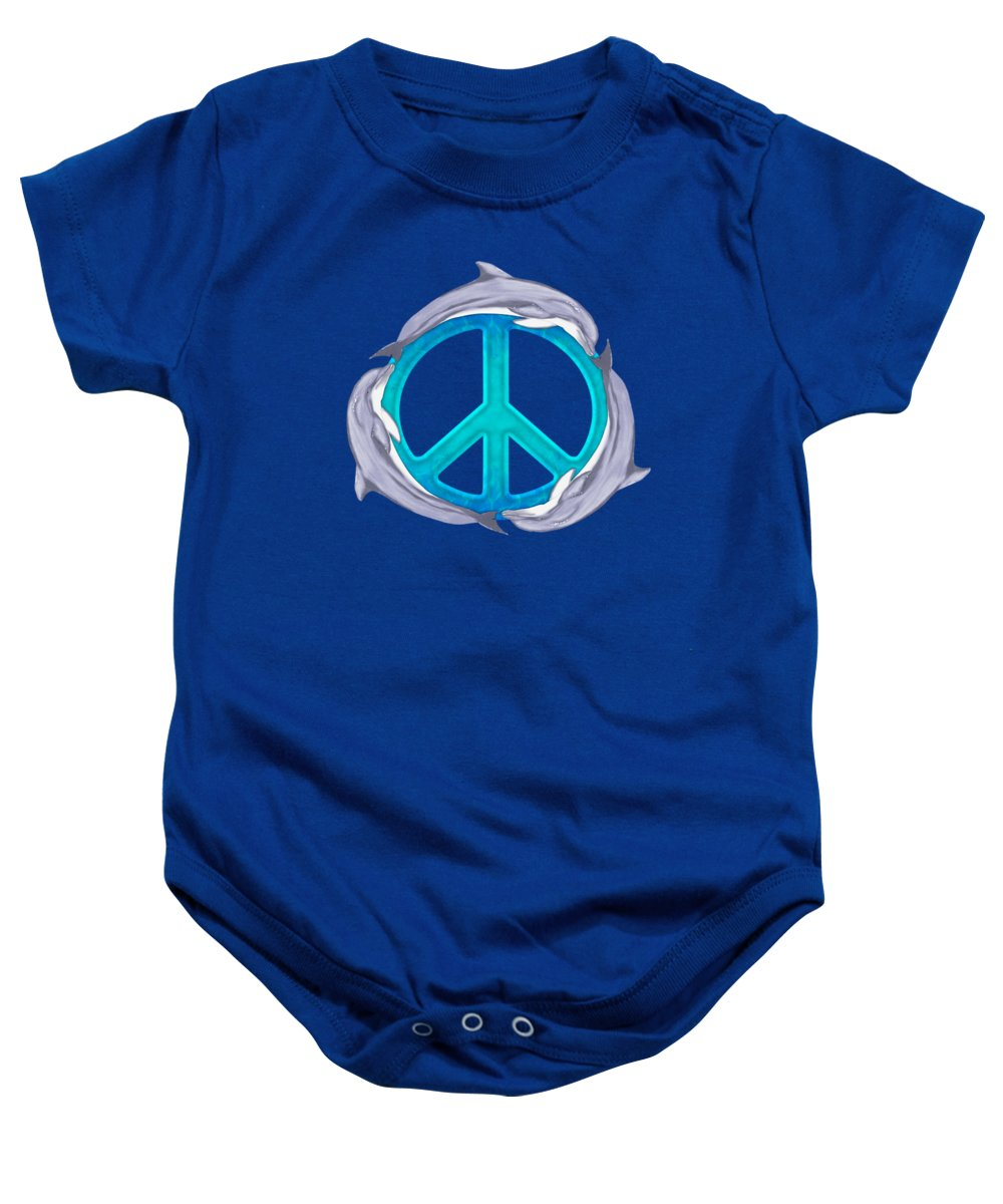 Dolphin Baby Onesie featuring the digital art Dolphin Peace by Chris MacDonald
