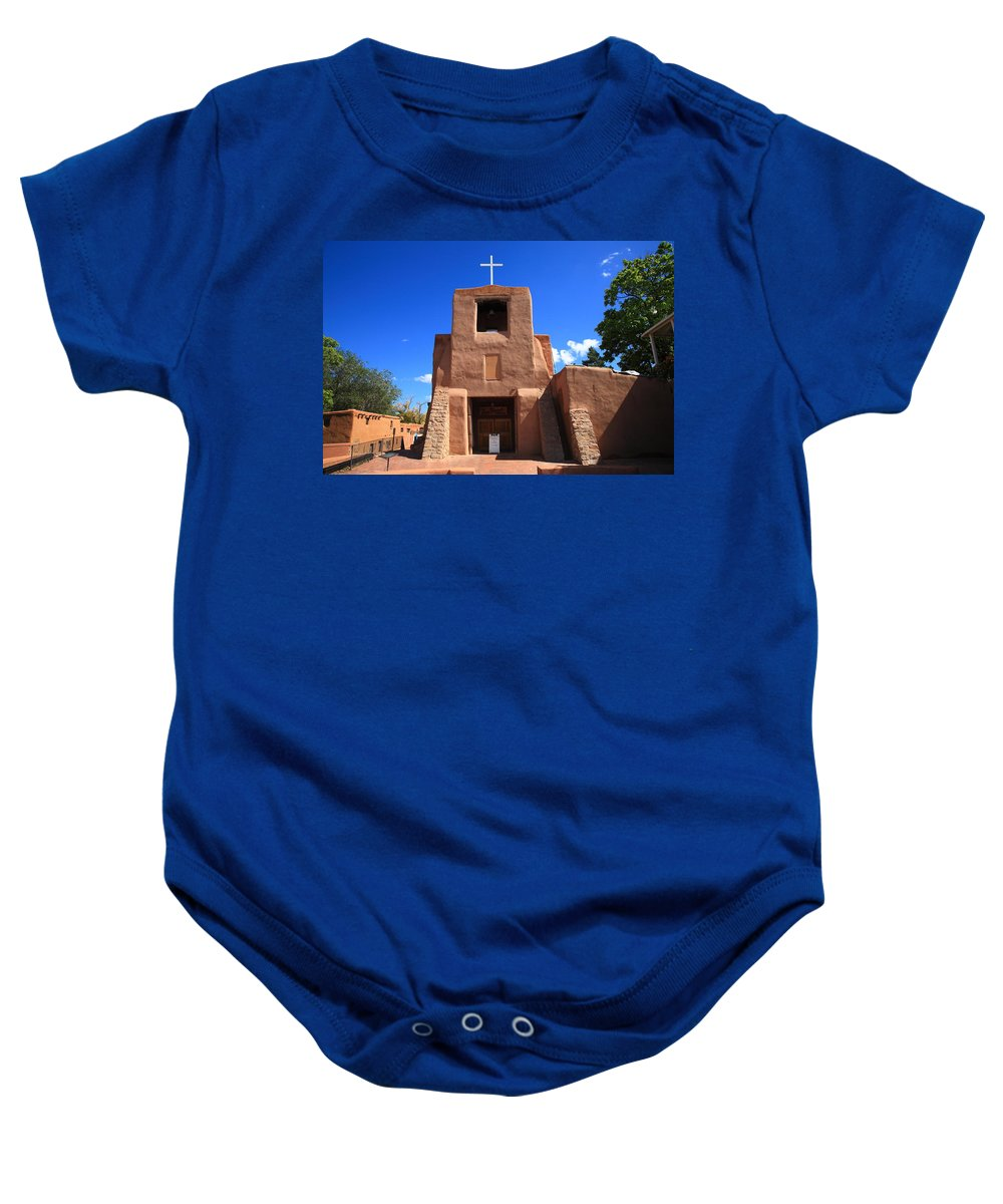 66 Baby Onesie featuring the photograph Santa Fe - San Miguel Chapel by Frank Romeo