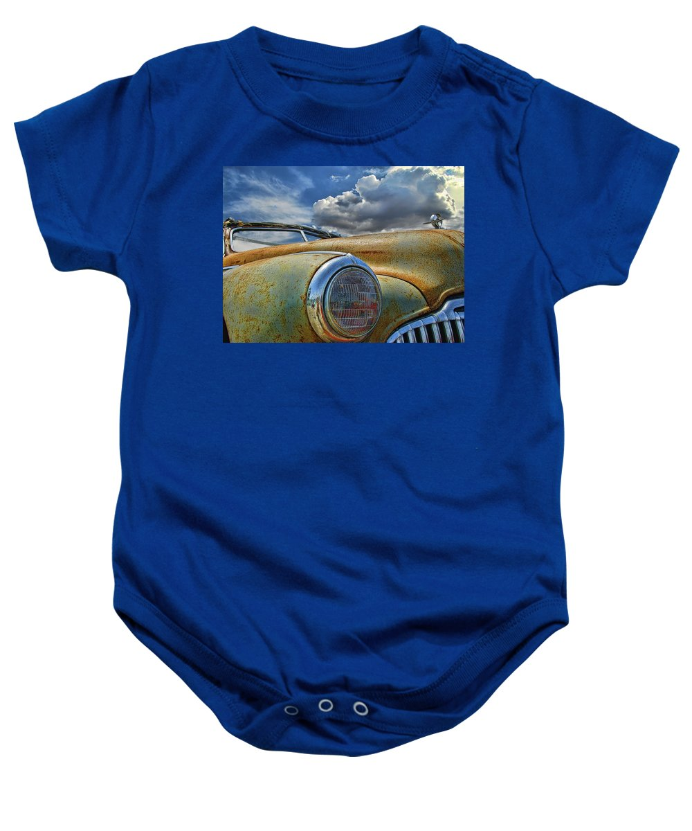 Old Car Baby Onesie featuring the photograph 48 Buick by Nick Roberts