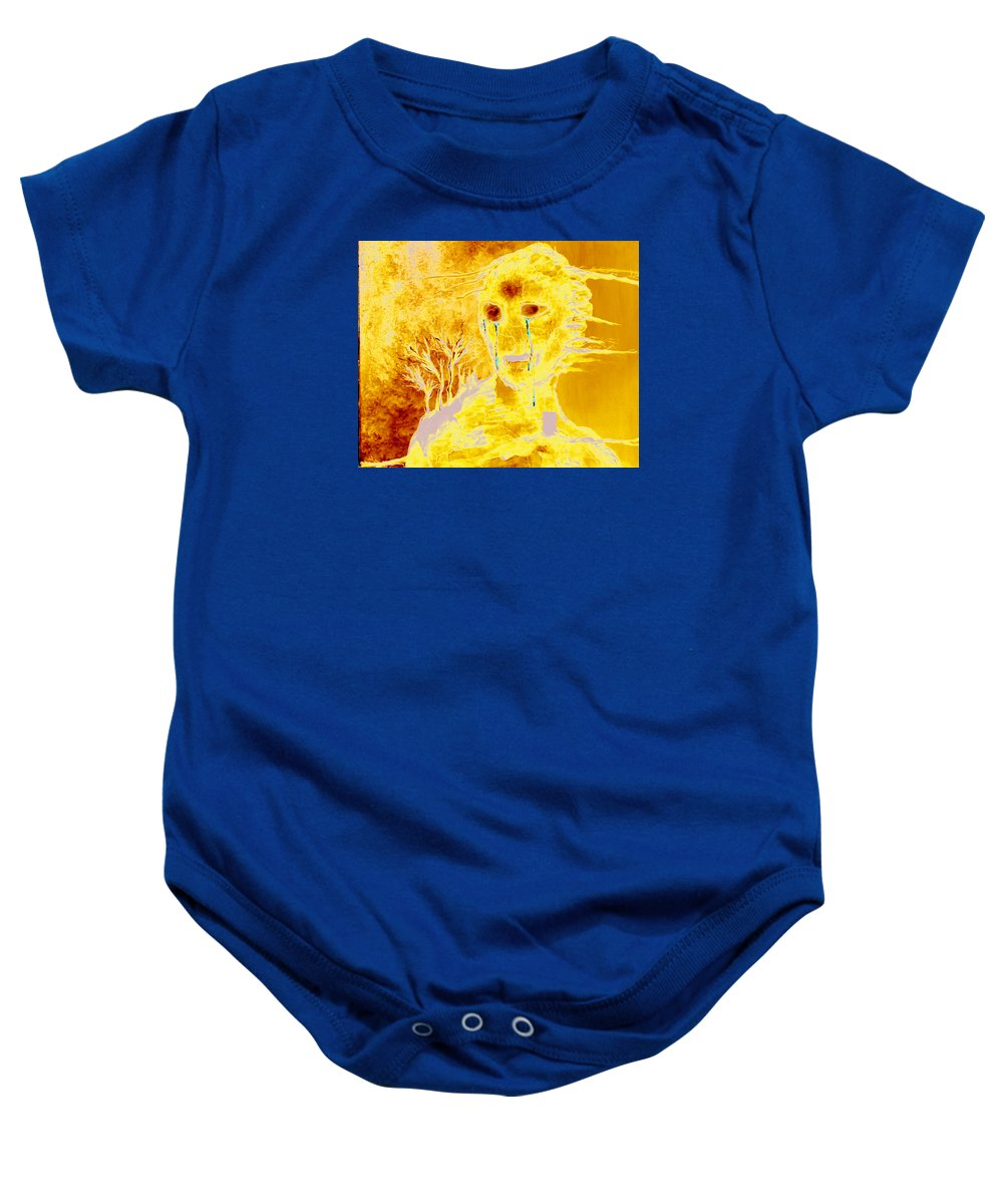 Blue Baby Onesie featuring the painting Untitled by Veronica Jackson