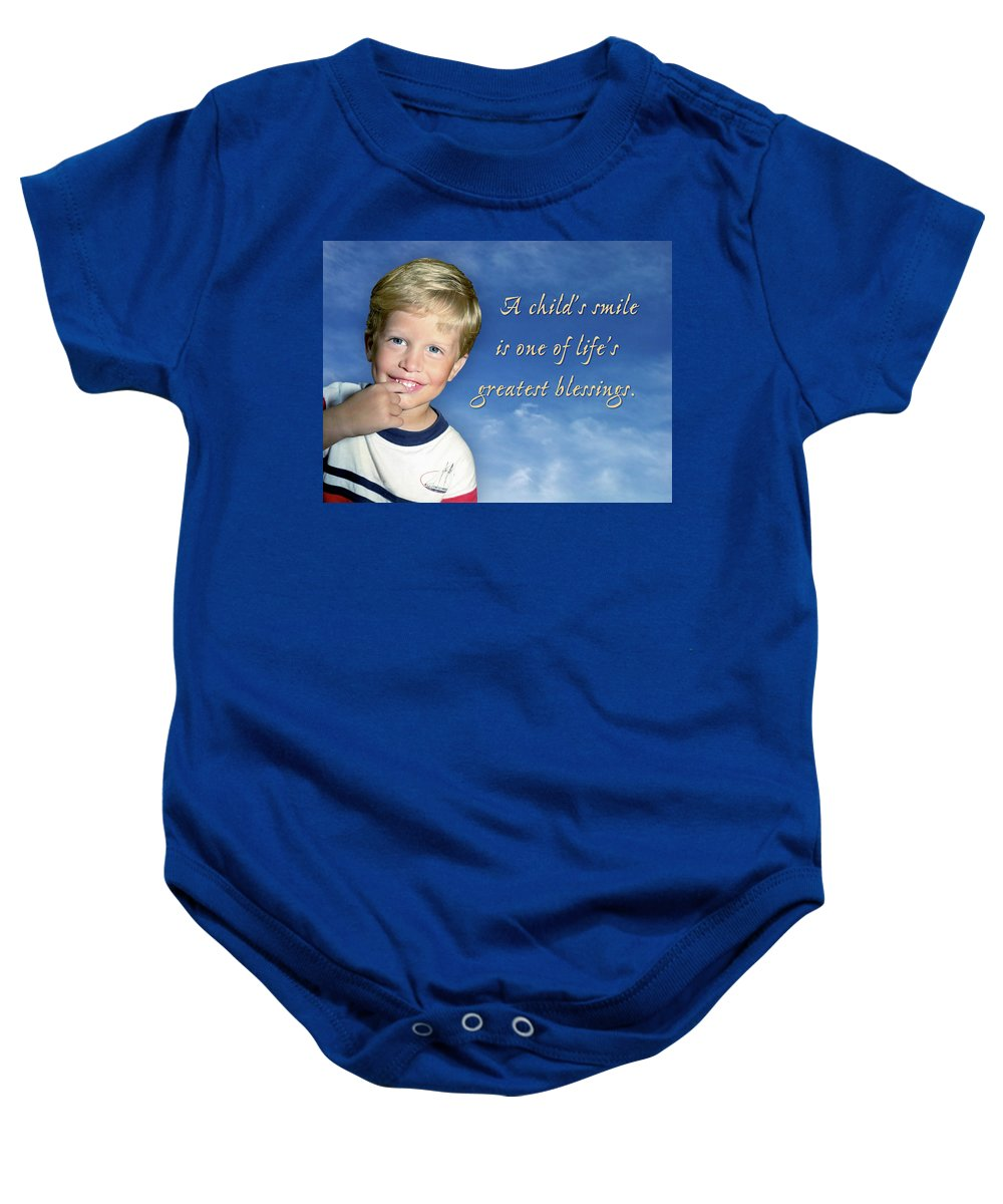 Boy Baby Onesie featuring the photograph A Child's Smile by Marie Hicks