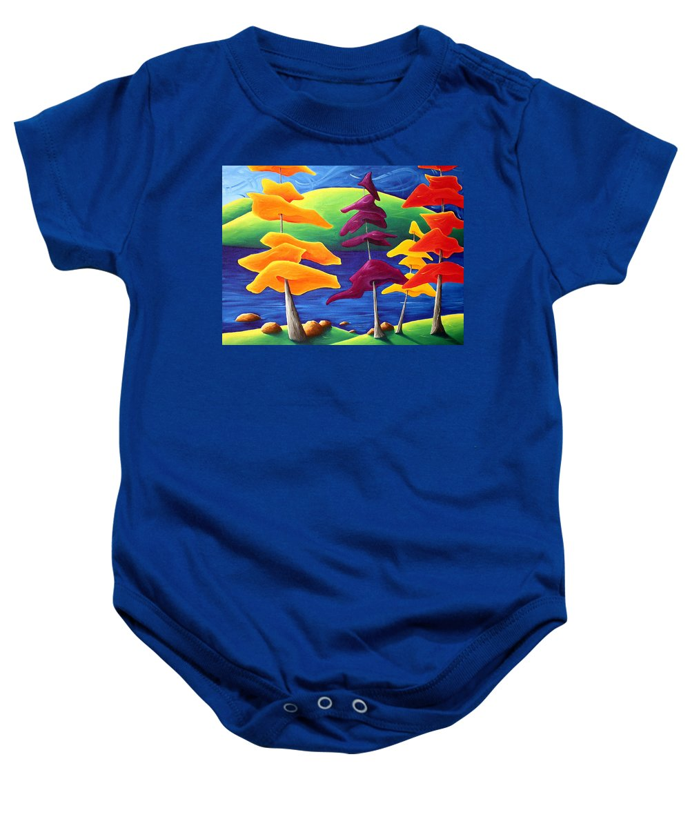 Landscape Baby Onesie featuring the painting A Crowd Gathers by Richard Hoedl