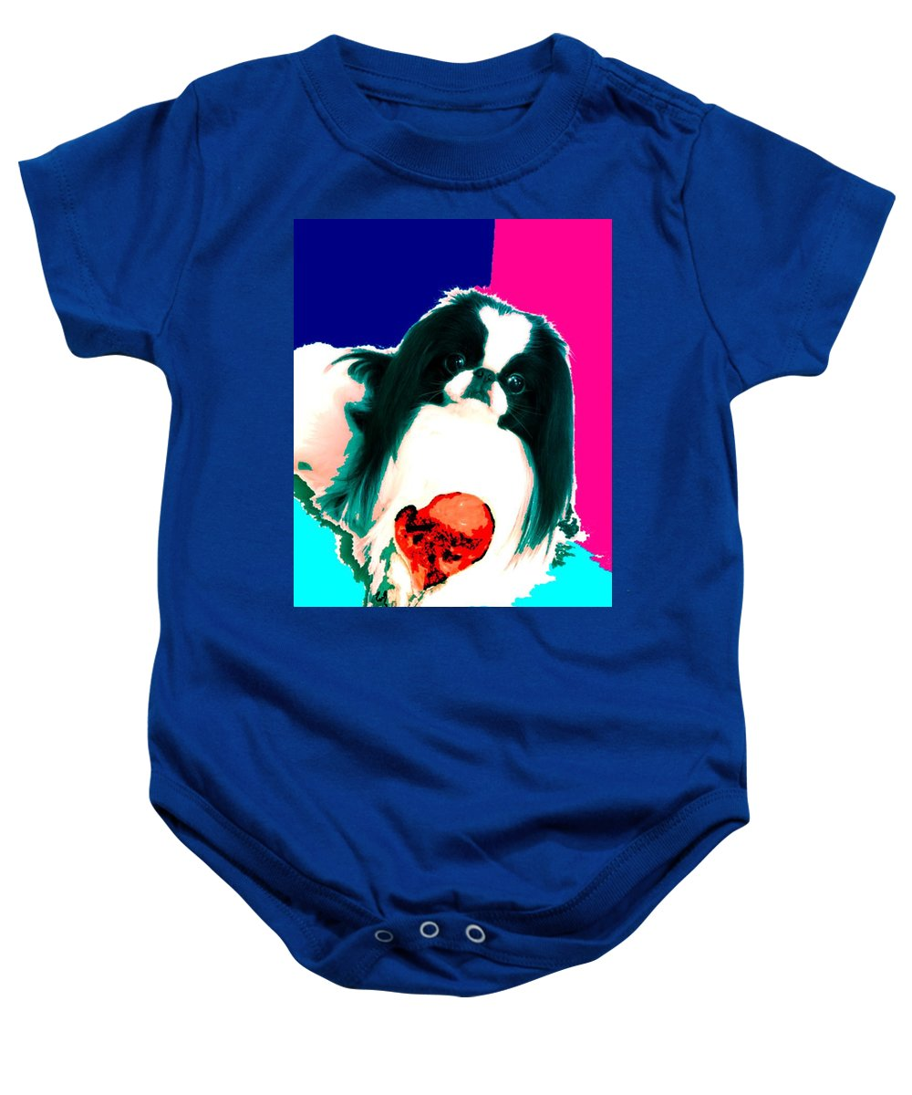 A Japanese Chin And His Toy Baby Onesie featuring the digital art A Japanese Chin And His Toy by Kathleen Sepulveda