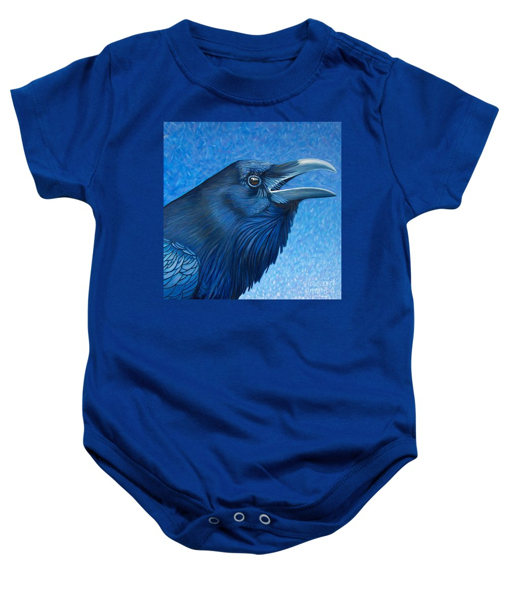 Raven Baby Onesie featuring the painting A Raven's Prayer by Brian Commerford