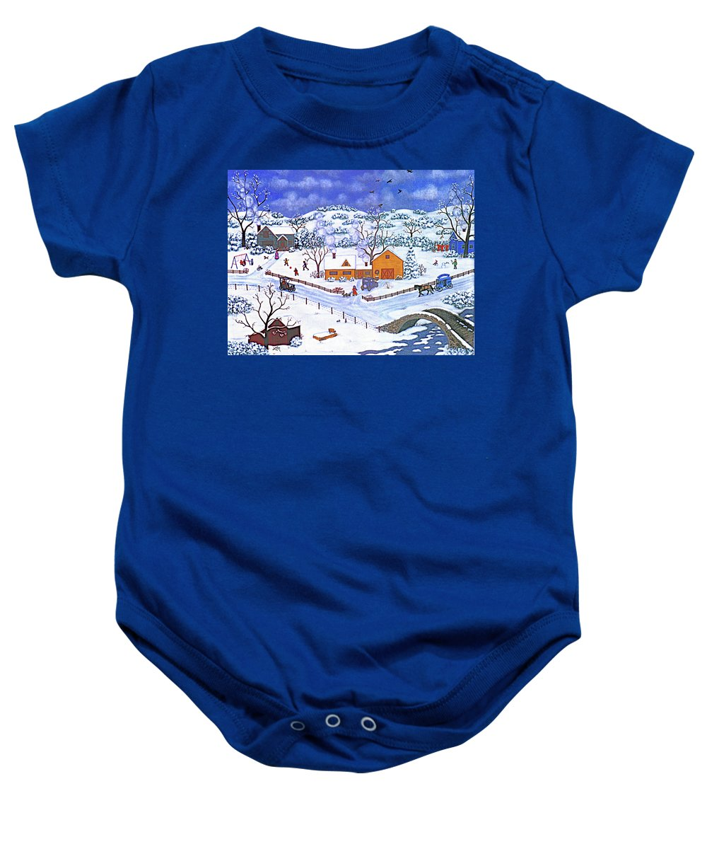 Winter Landscape Baby Onesie featuring the painting A Winter Evening by Linda Mears