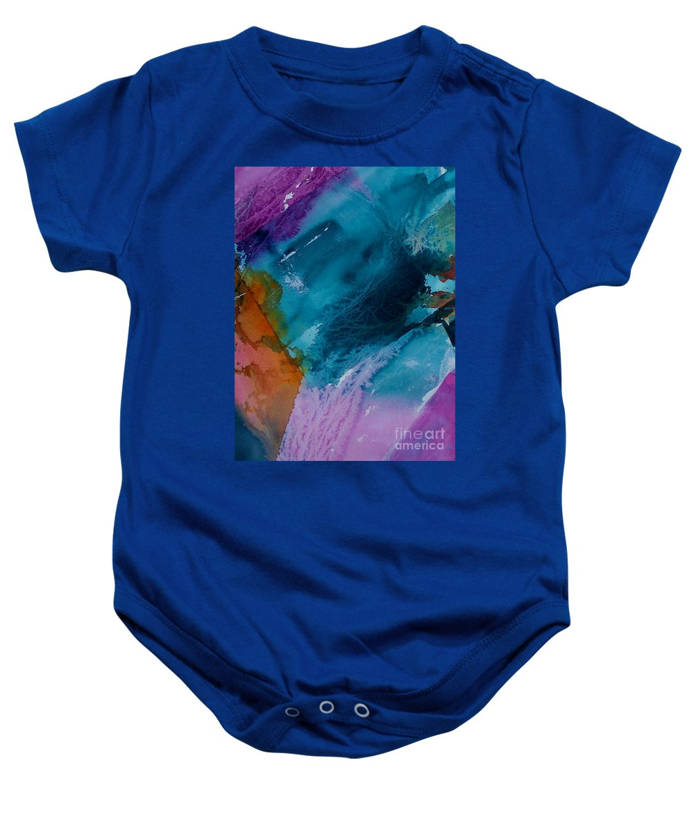 Abstract Baby Onesie featuring the painting Abstract 034 by Donna Frost