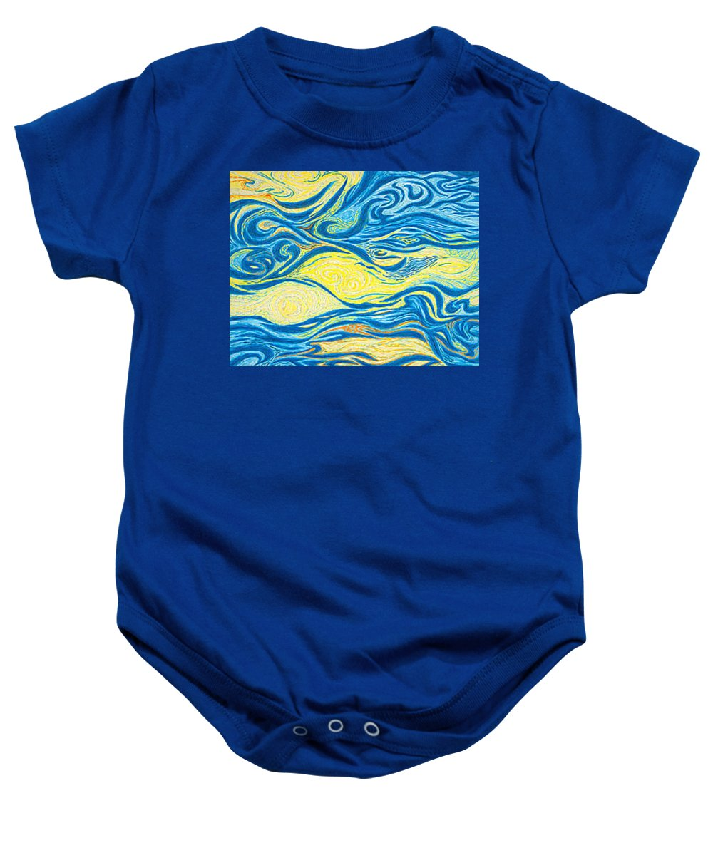Art Baby Onesie featuring the drawing Abstract Art Good Morning Contemporary Modern Artwork Giclee Fine Art Prints Life Cycle Swirls Water by Baslee Troutman