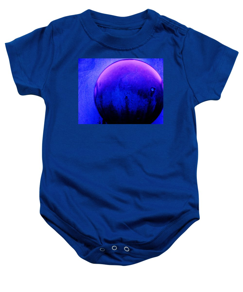 Abstract Baby Onesie featuring the painting Abstract Metal Ball by Eric Schiabor