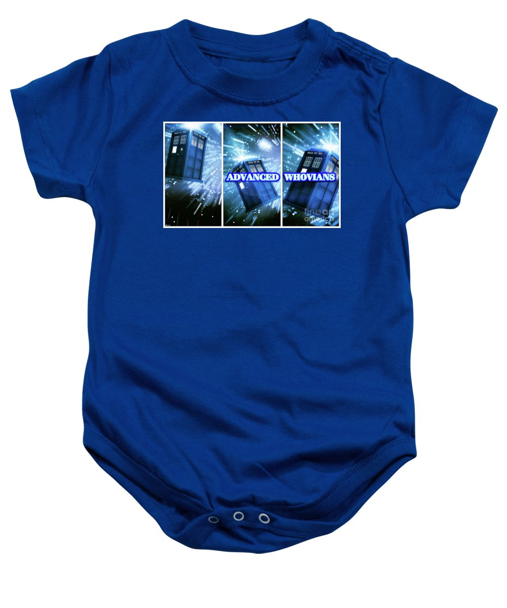 Doctor Who Baby Onesie featuring the digital art Advanced Whovians Alt by Robert Radmore