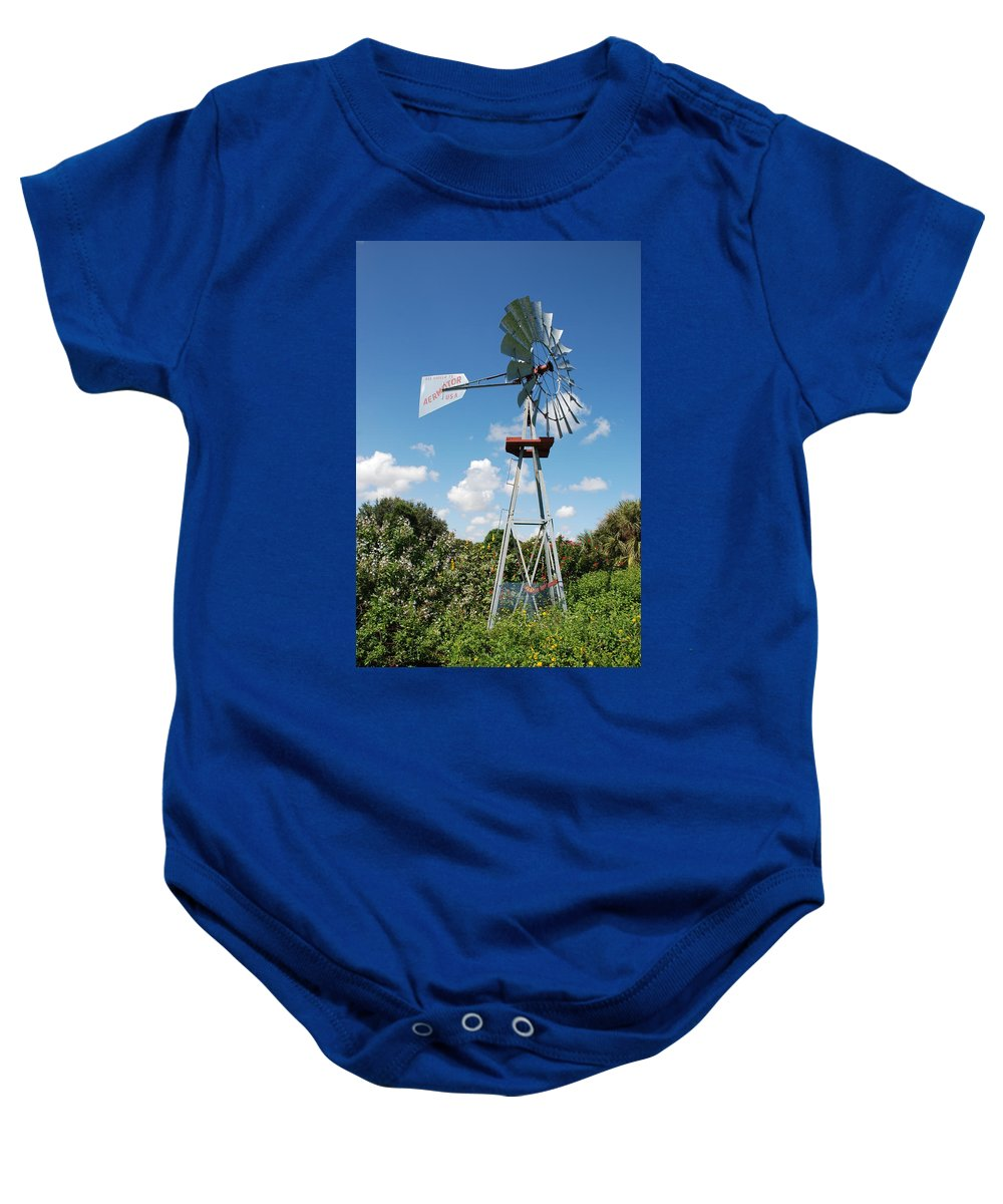 Blue Baby Onesie featuring the photograph Aeromotor Windmill by Rob Hans