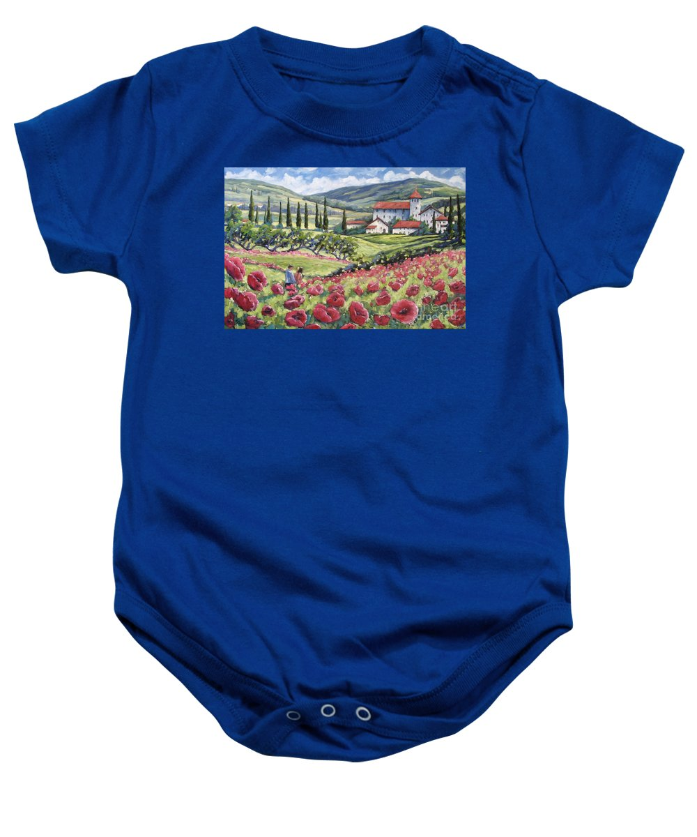 Tuscan Baby Onesie featuring the painting Afternoon Stroll by Richard T Pranke