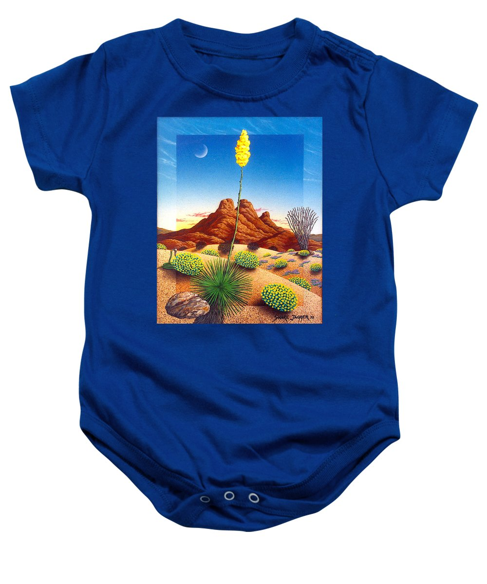 Agave Cactus Baby Onesie featuring the painting Agave Bloom by Snake Jagger