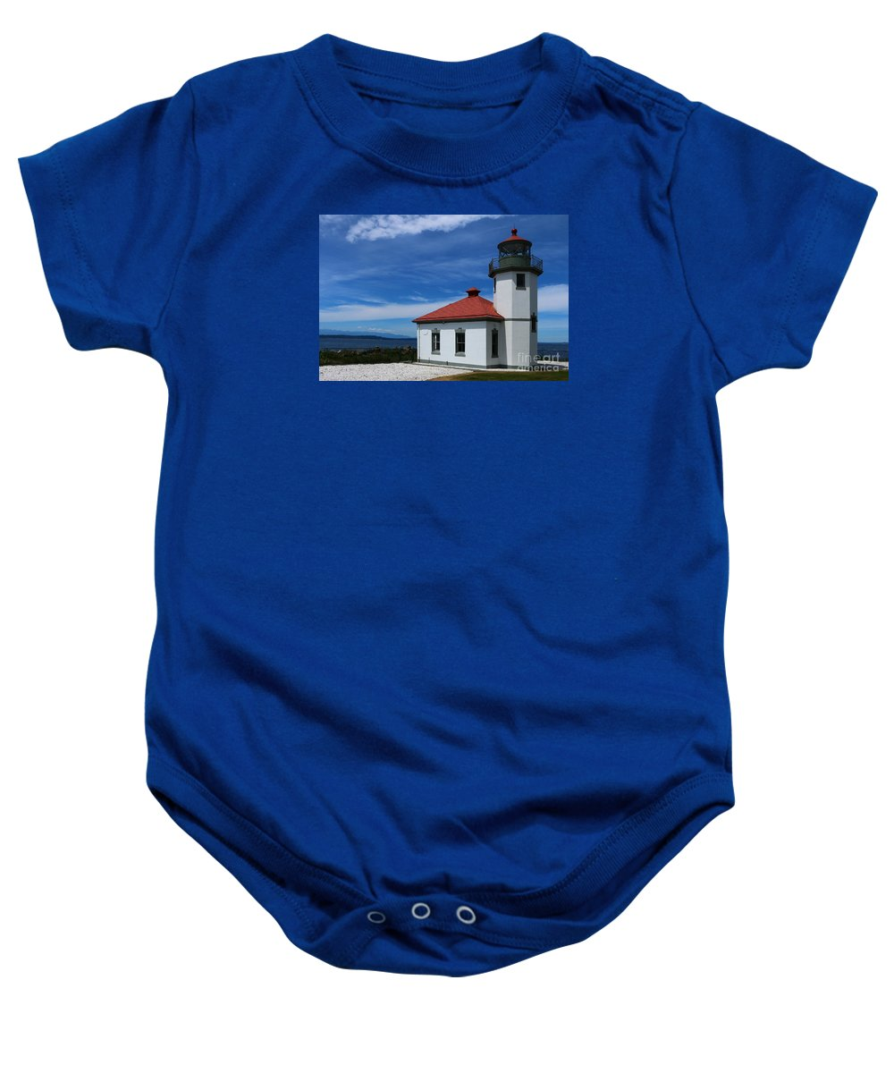 Alki Baby Onesie featuring the photograph Alki Point Light by Christiane Schulze Art And Photography