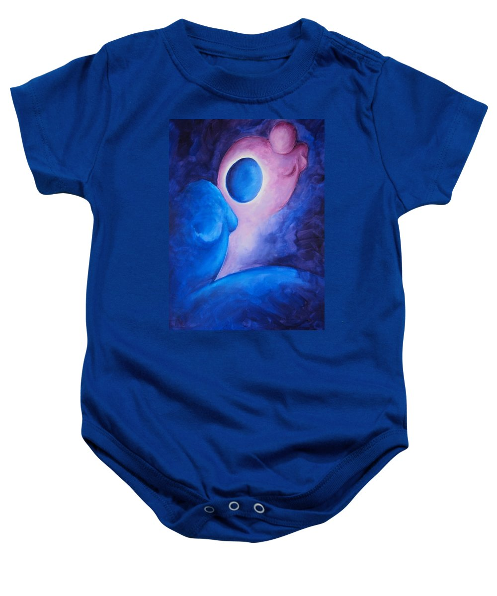 Blue Baby Onesie featuring the painting Always... In My Thoughts by Jennifer Hannigan-Green