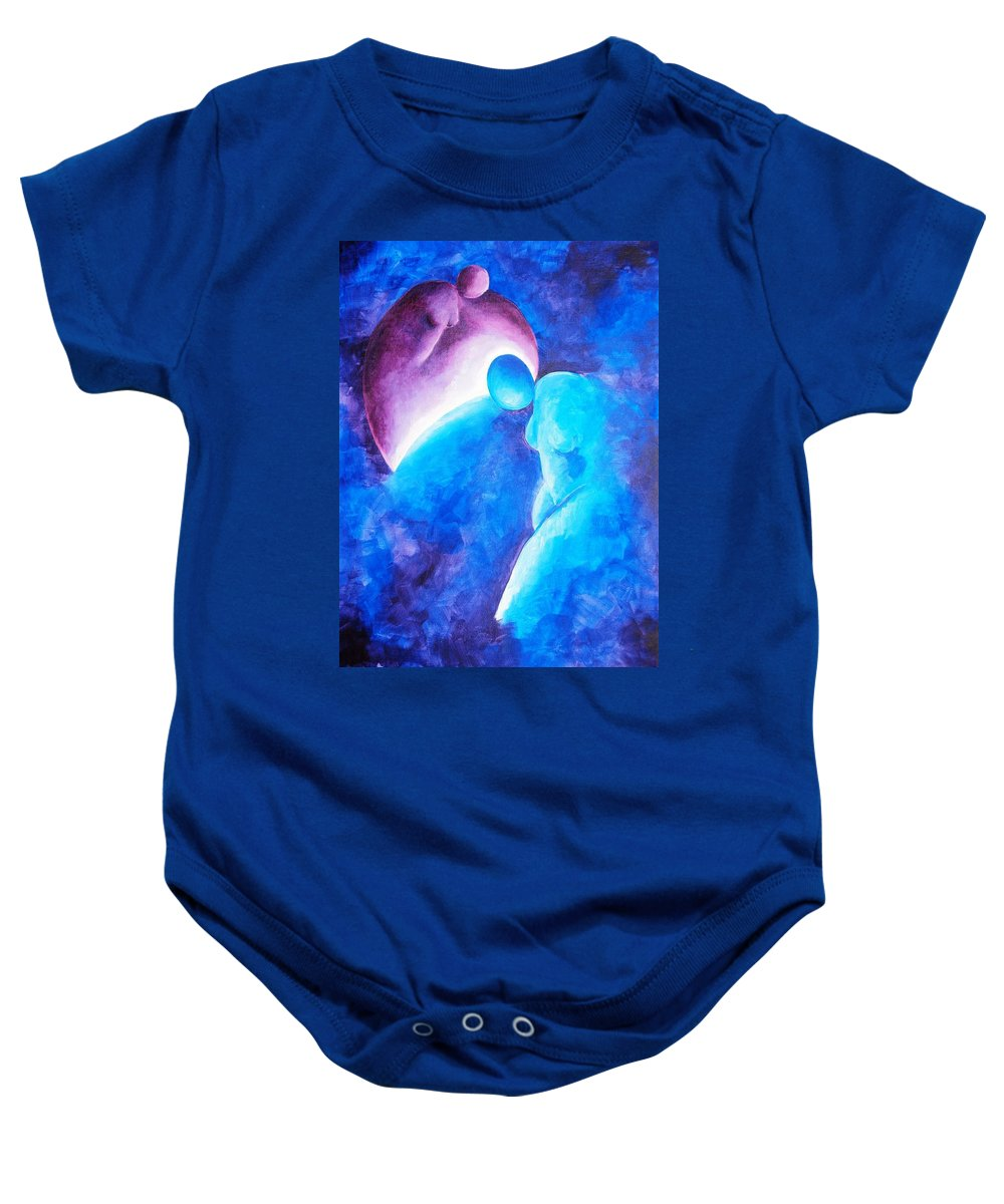 Blue Baby Onesie featuring the painting Always... There To Go On by Jennifer Hannigan-Green