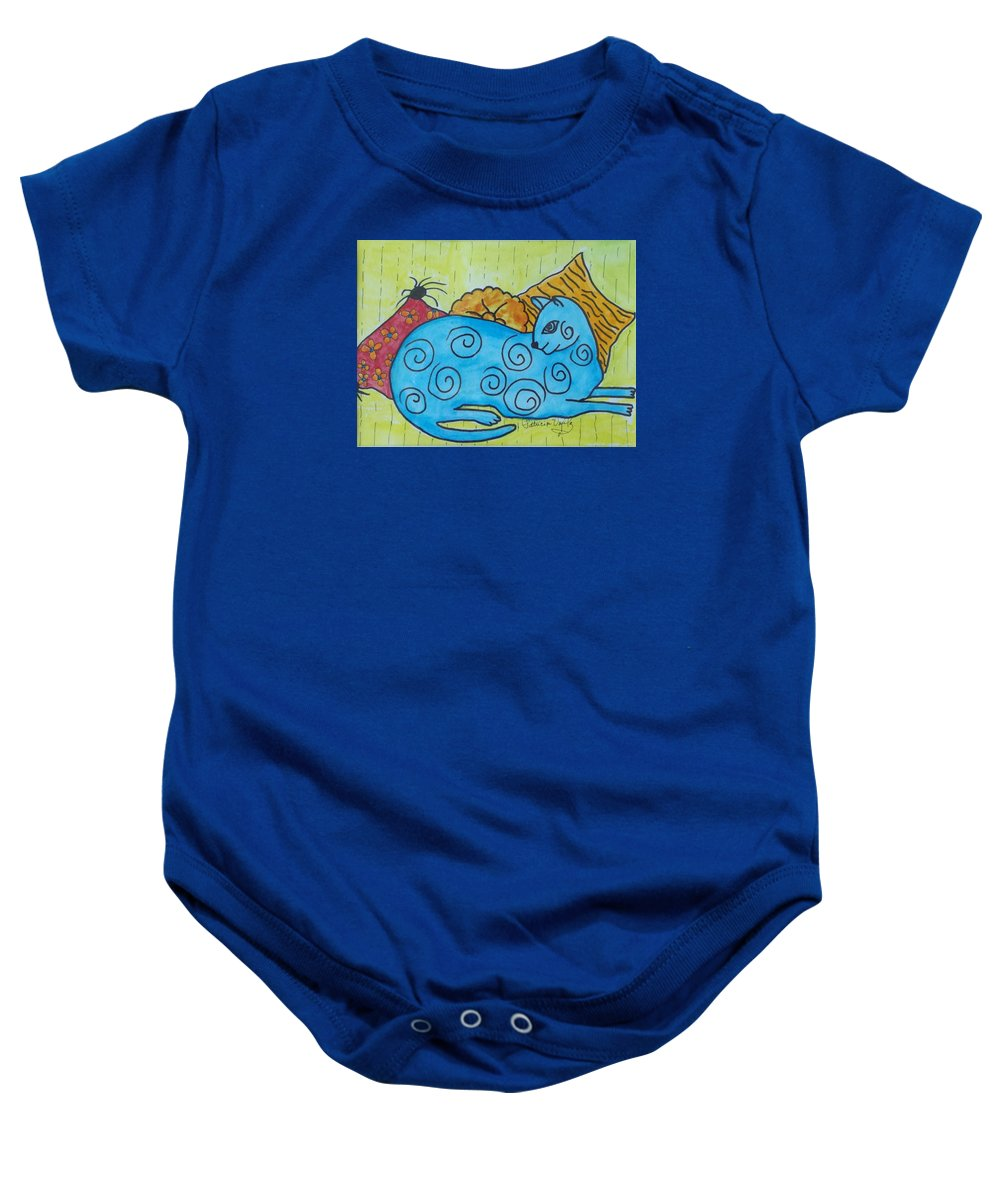 Animals Baby Onesie featuring the painting Am I Blue by Patricia Voelz