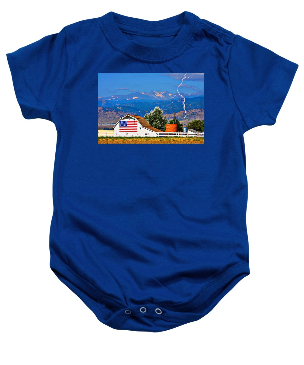 Lightning Baby Onesie featuring the photograph America The Beautiful by James BO Insogna