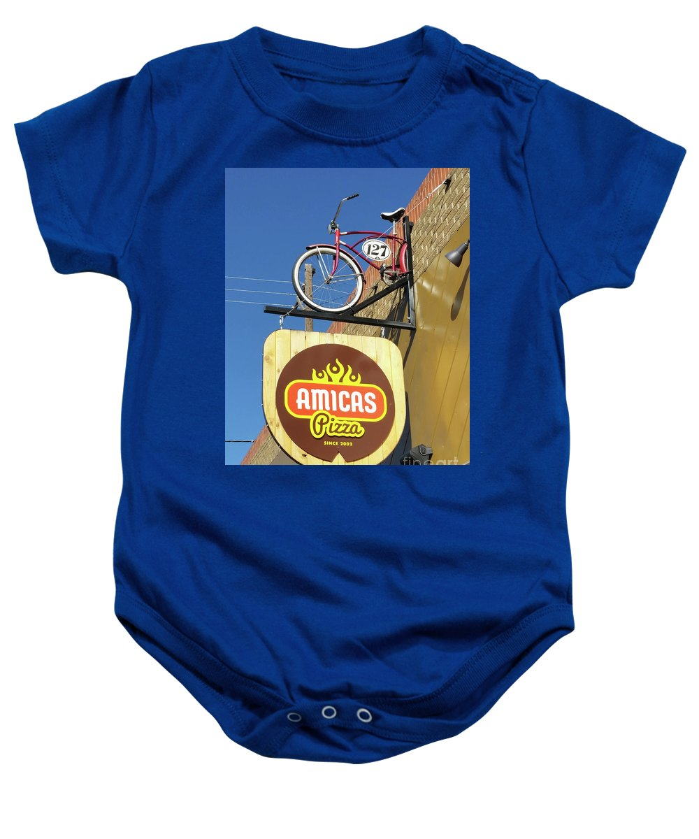 Sign Baby Onesie featuring the photograph Amicas Pizza by Tony Baca