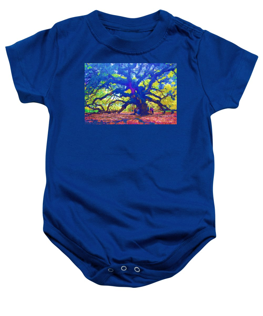 Tree Baby Onesie featuring the photograph Angel Oak Tree by Donna Bentley