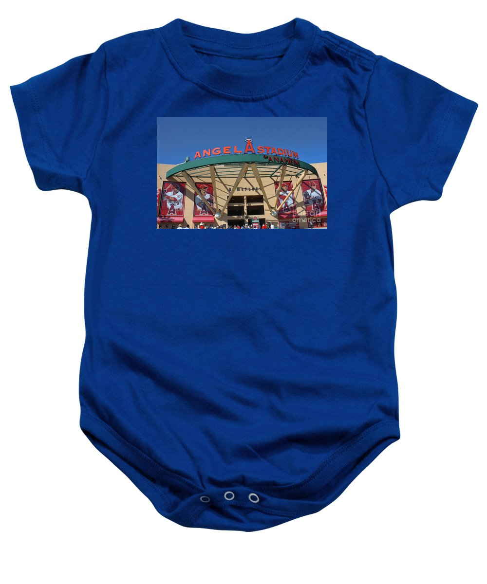 Angel Stadium Baby Onesie featuring the photograph Angel Stadium by Tommy Anderson