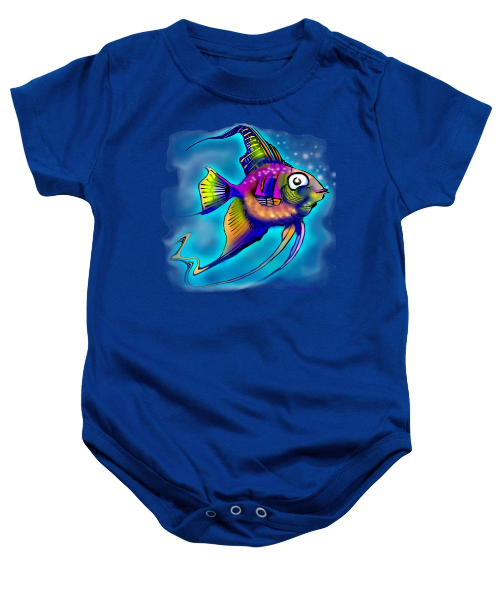 Angelfish Baby Onesie featuring the painting Angelfish by Kevin Middleton