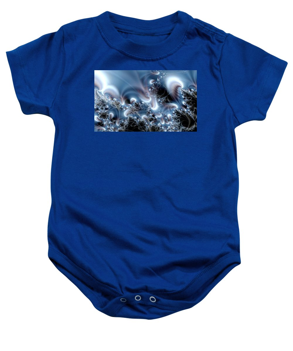 Water Bubbles Blue Nature Flow Baby Onesie featuring the digital art Aquafractal by Veronica Jackson