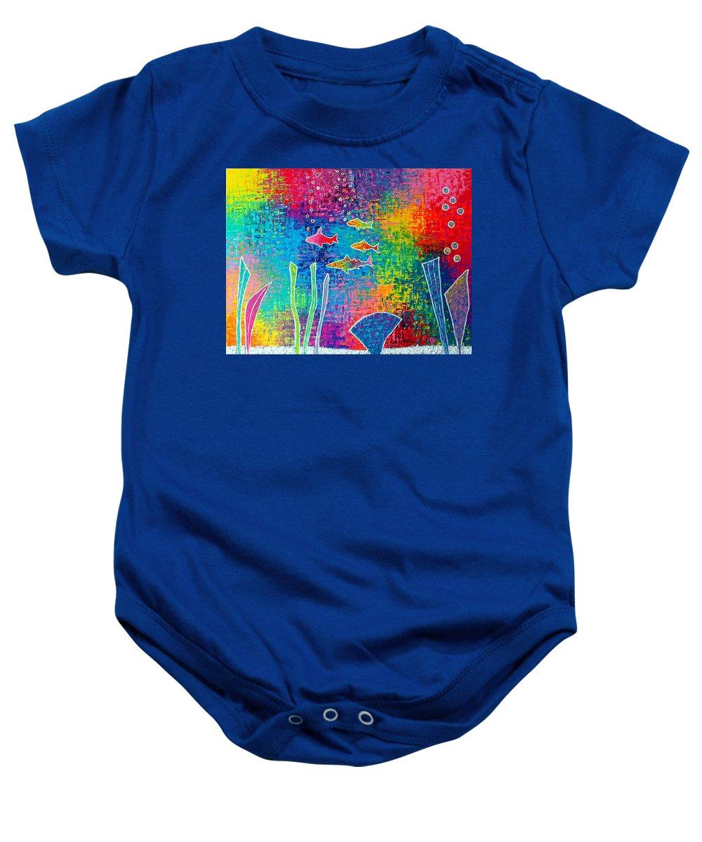 Aquarium Baby Onesie featuring the painting Aquarium by Jeremy Aiyadurai
