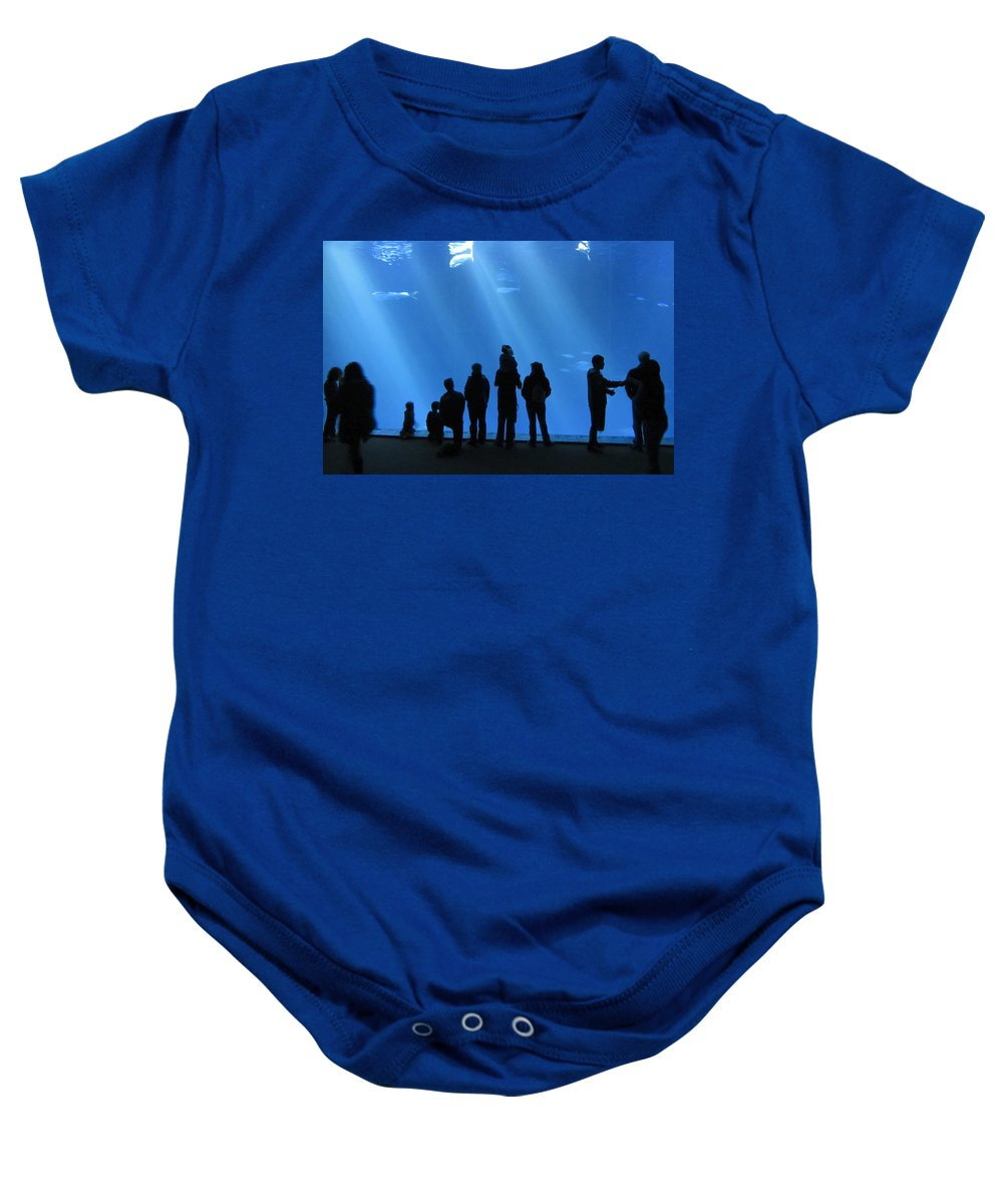 Aquarium Baby Onesie featuring the photograph Aquarium Silhouettes by Erik Burg