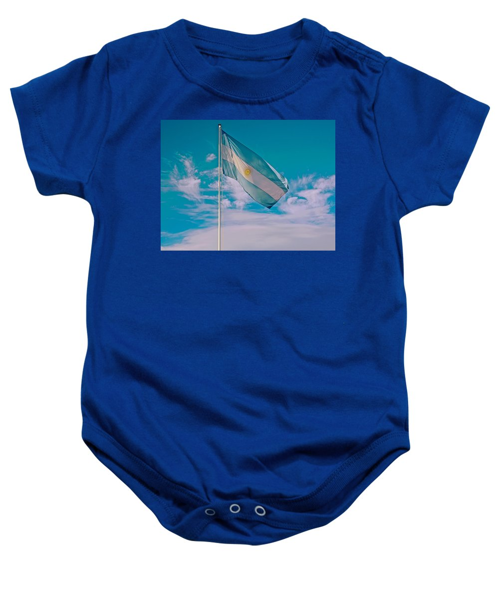 Argentinian Flag In Central Park In Bariloche Baby Onesie featuring the photograph Argentinian Flag In Central Park In Bariloche-argentina by Ruth Hager