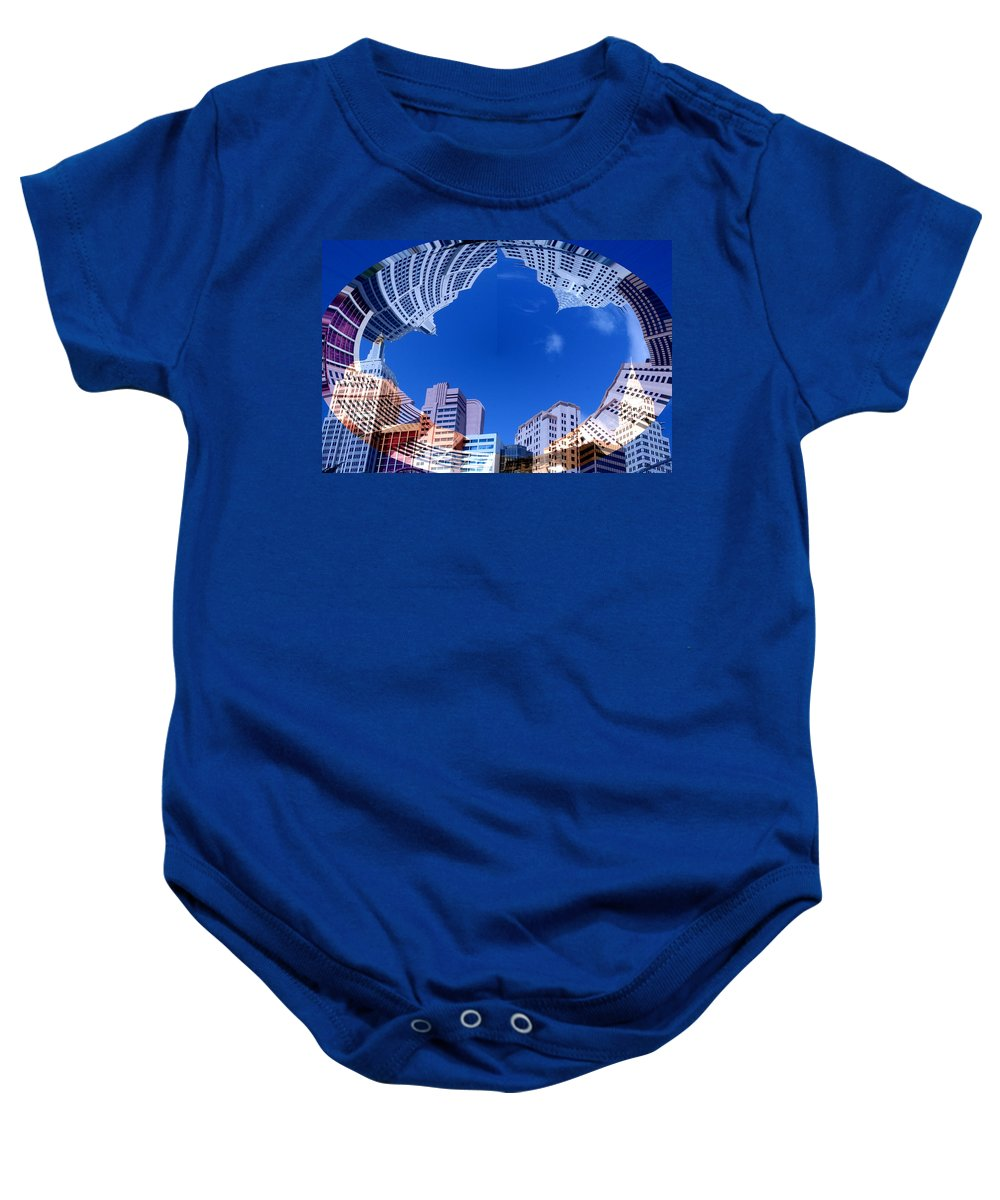 New York City Sky Line Las Vegas Sky Scrapers Clouds Buildings Baby Onesie featuring the photograph Around New York by Andrea Lawrence