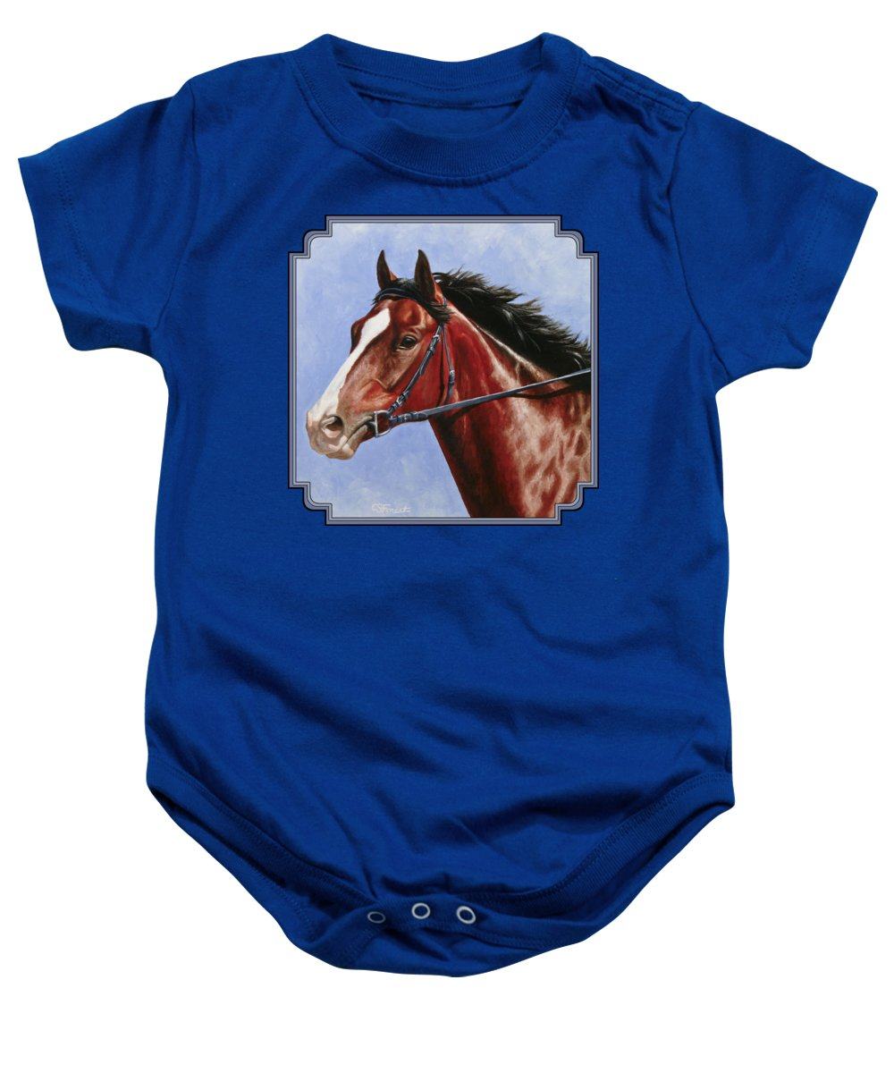 Horse Baby Onesie featuring the painting Horse Painting - Determination by Crista Forest