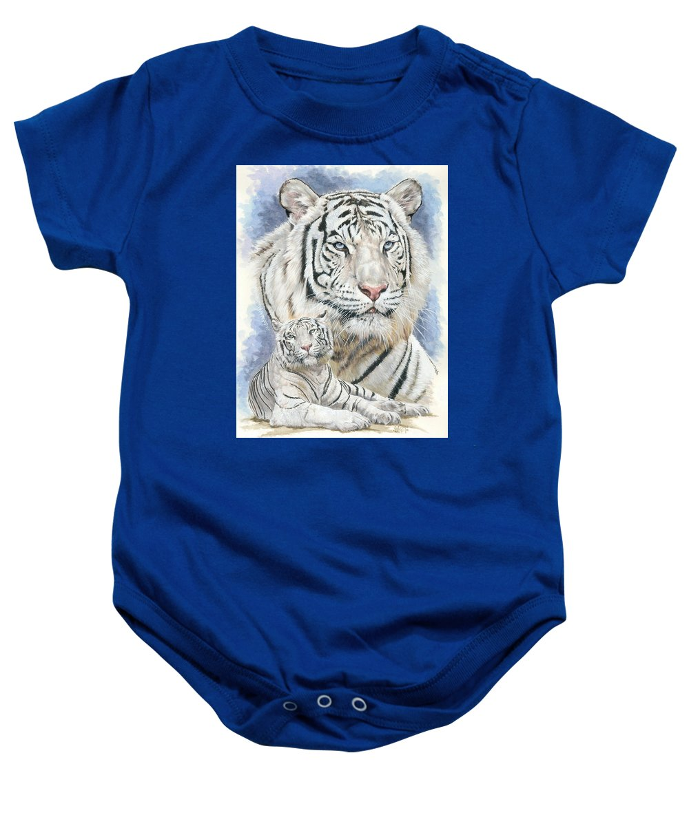 Big Cat Baby Onesie featuring the mixed media Dignity by Barbara Keith