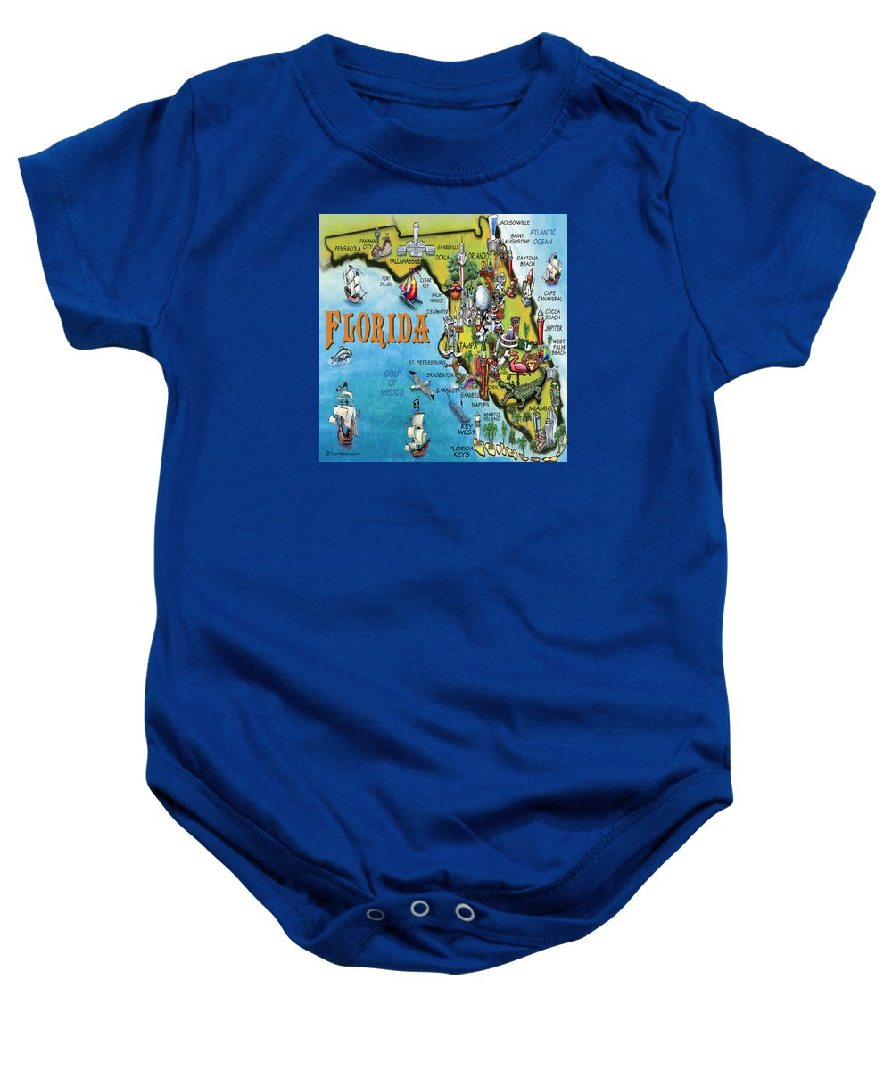 Florida Baby Onesie featuring the digital art Florida Cartoon Map by Kevin Middleton