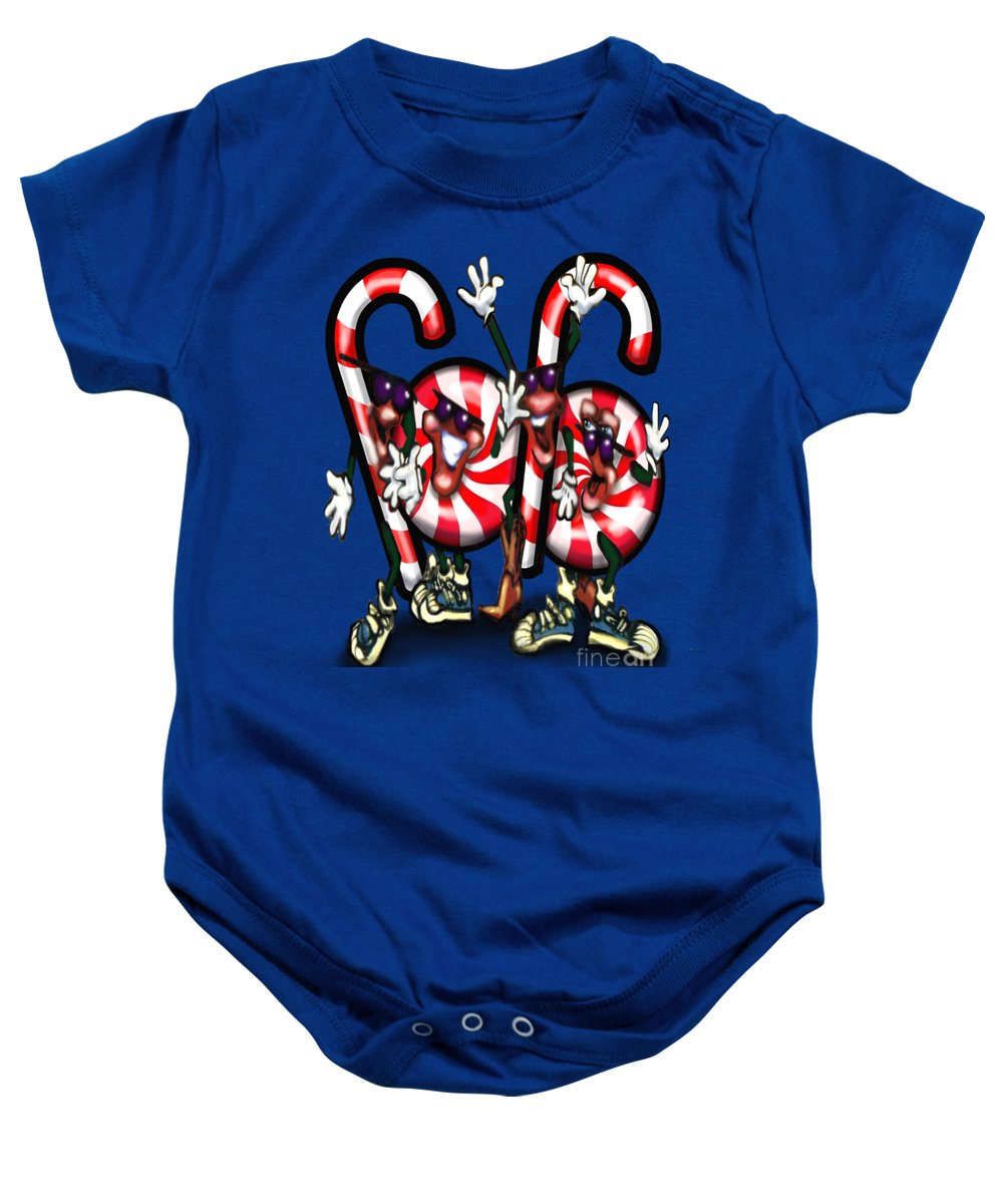 Candy Baby Onesie featuring the digital art Candy Cane Gang by Kevin Middleton