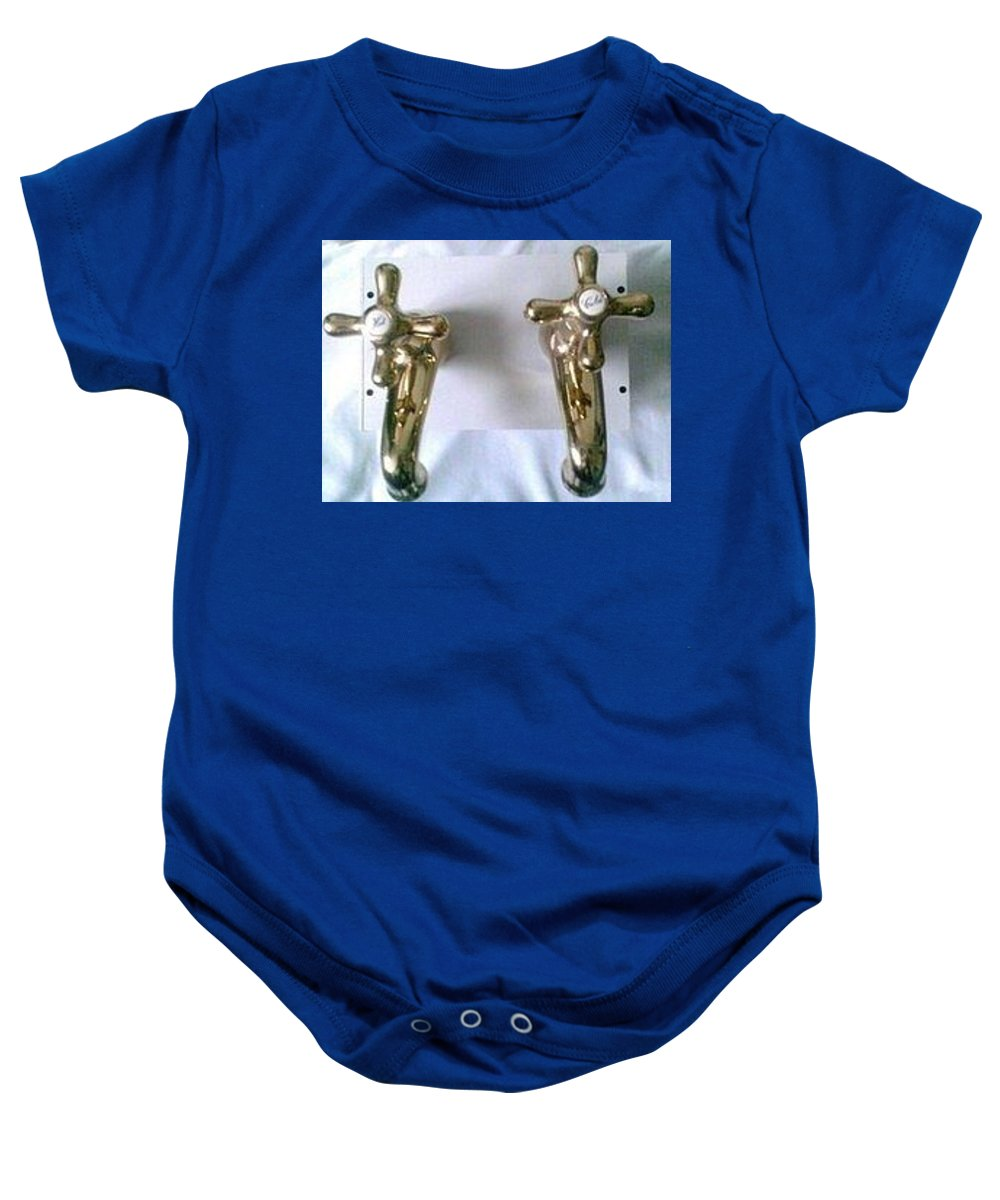 Taps Gold Plated Baby Onesie featuring the sculpture , Conserve The Planets Water by MERLIN Vernon