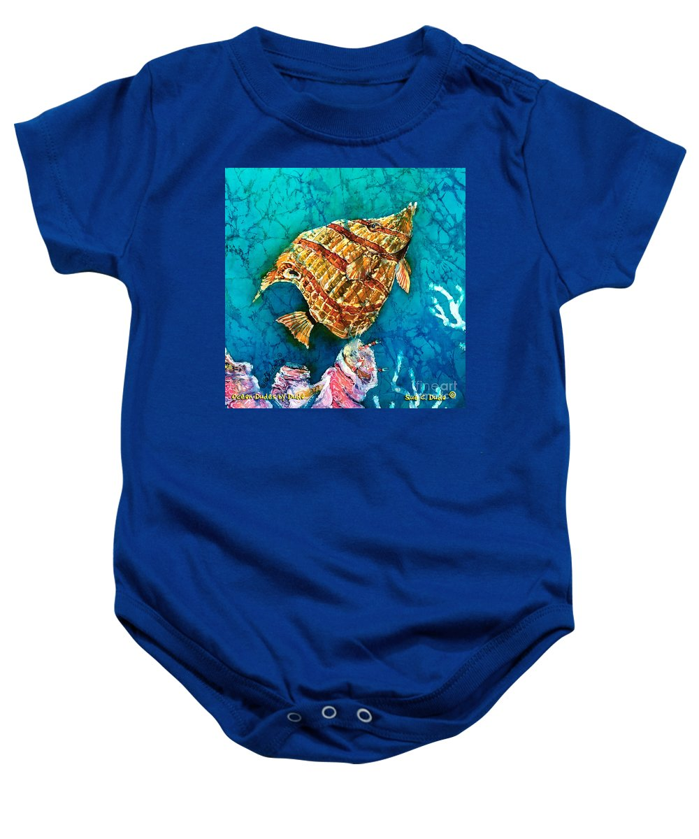 Beaked Butterflyfish Baby Onesie featuring the painting Ascending by Sue Duda