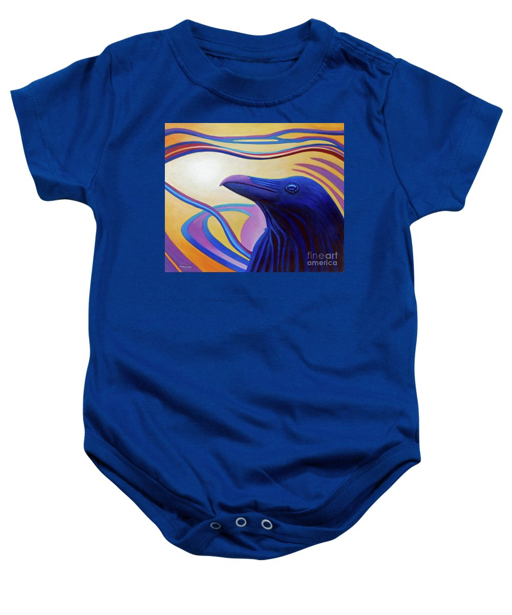 Raven Baby Onesie featuring the painting Astral Raven by Brian Commerford