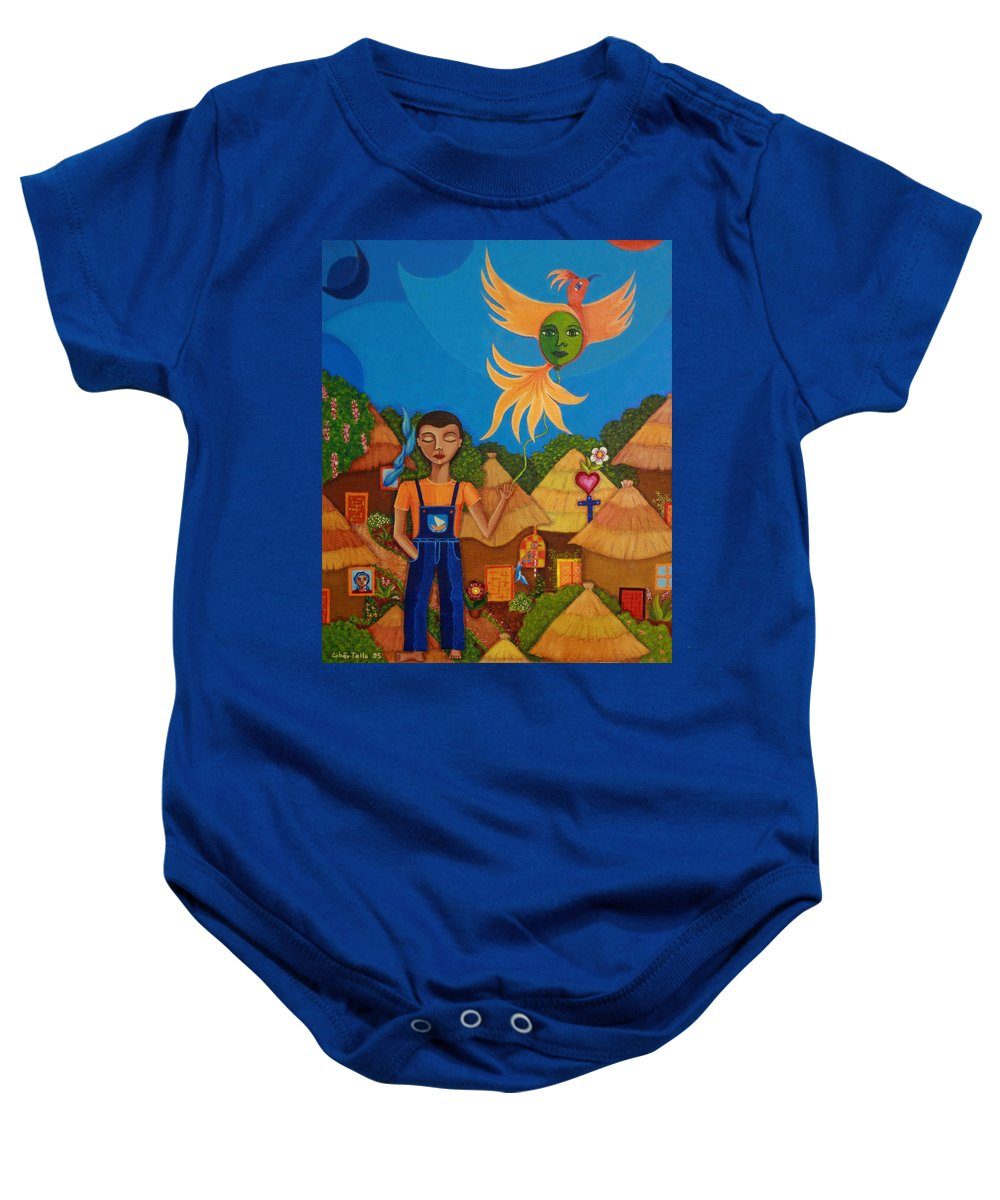 Autism Baby Onesie featuring the painting Autism - A Flight To... by Madalena Lobao-Tello