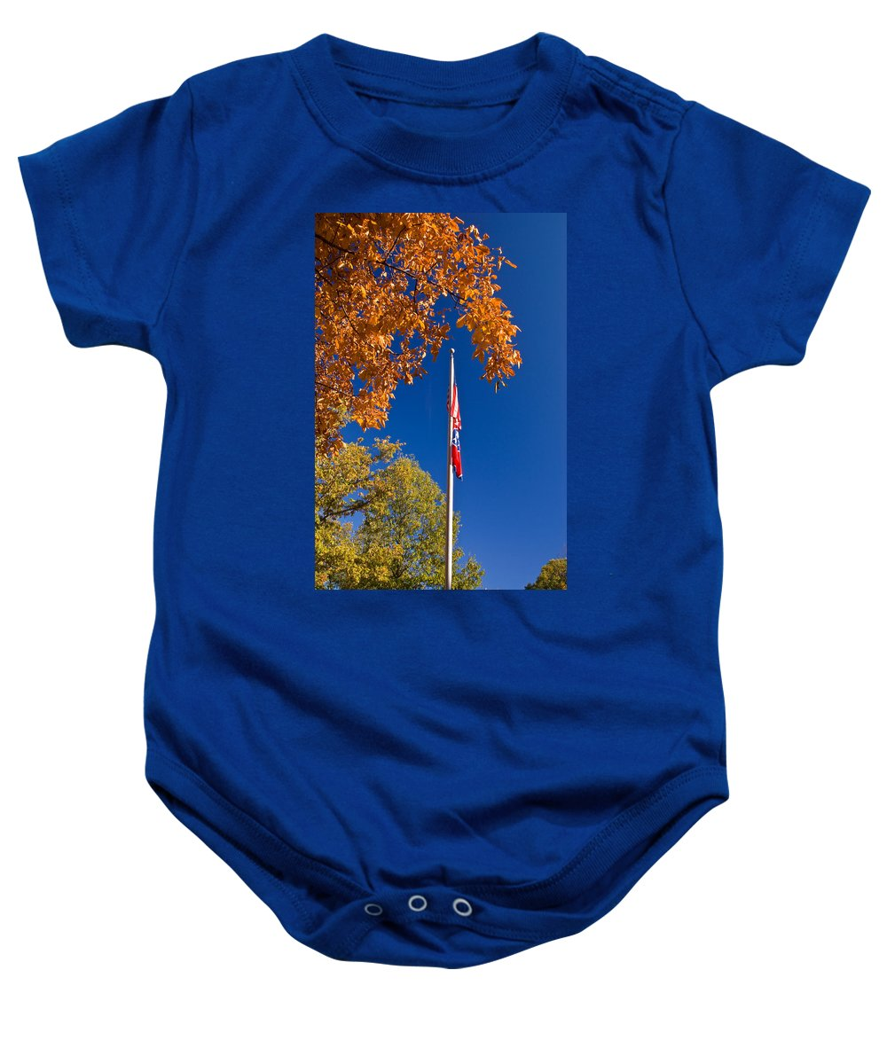 Flag Baby Onesie featuring the photograph Autumn Flag by Douglas Barnett