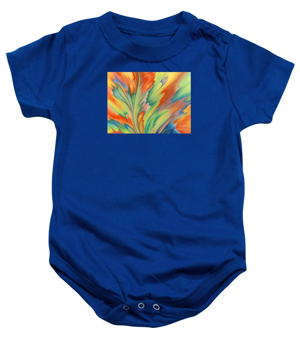 Abstract Baby Onesie featuring the painting Autumn Flame by Lucy Arnold
