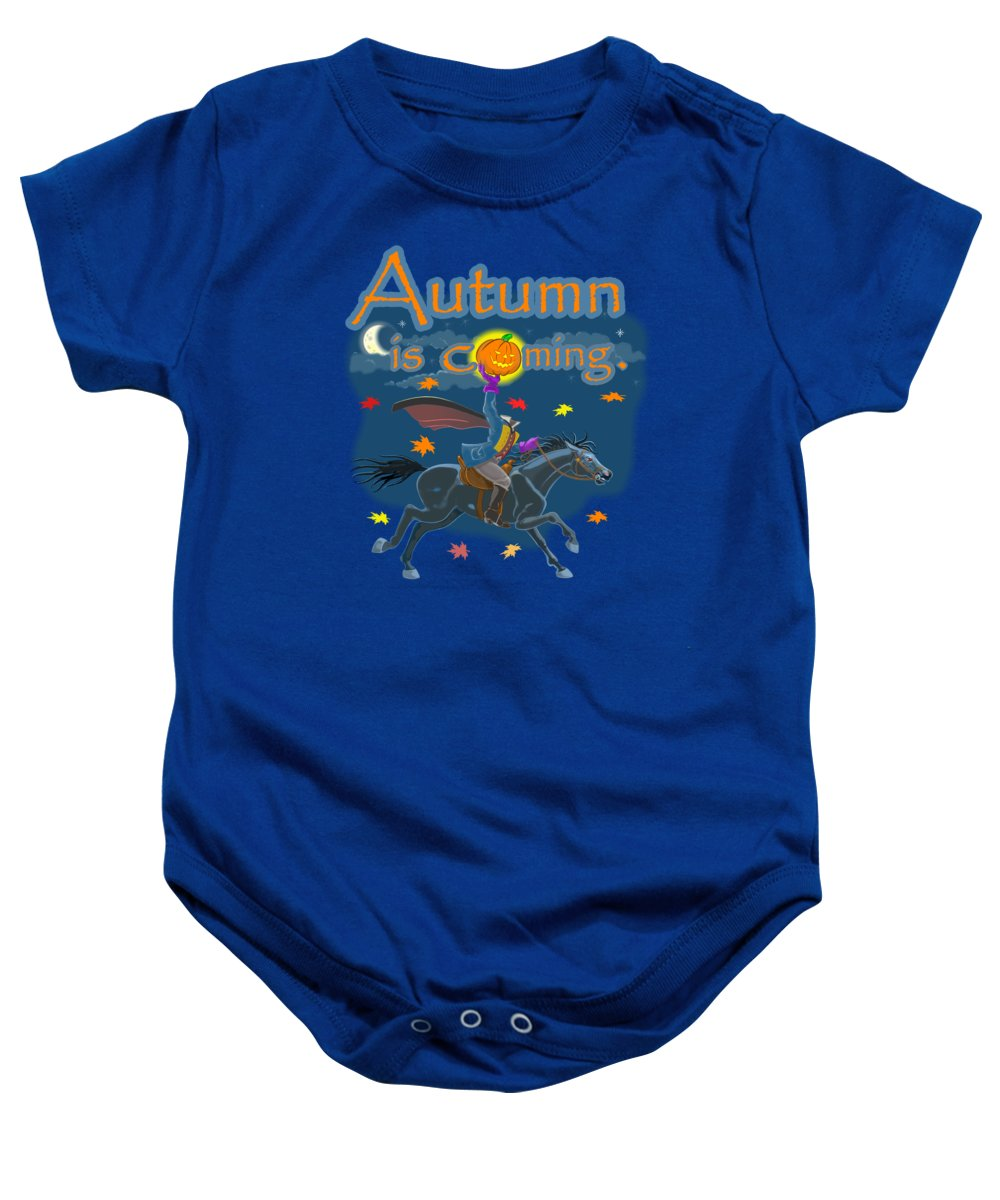 Sleepy Hollow Baby Onesie featuring the mixed media Autumn Is Coming by J L Meadows