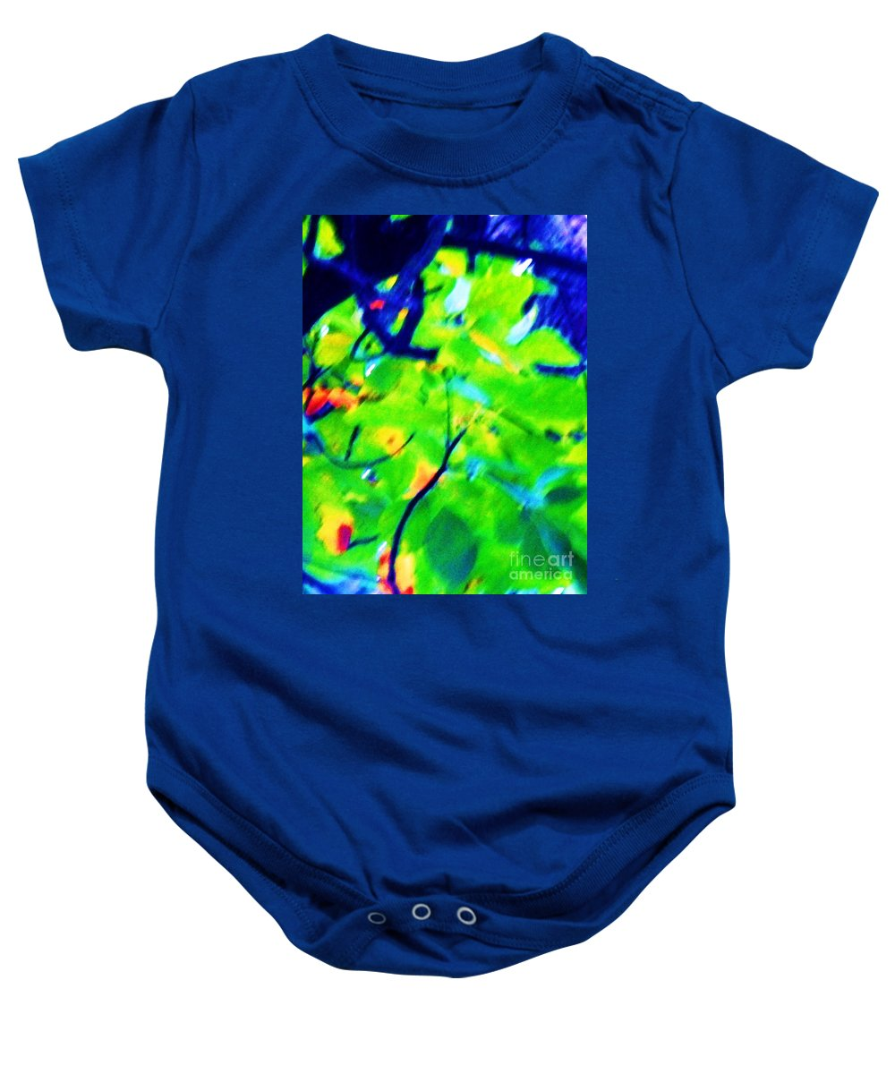 Abstract Baby Onesie featuring the painting Autumn Leaf Abstract by Eric Schiabor