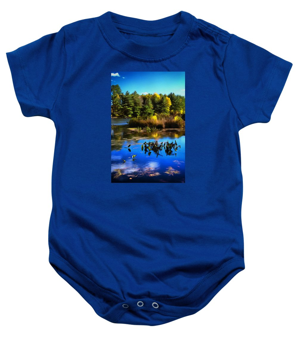 Pond Baby Onesie featuring the photograph Autumn Reflections by Claudius Cazan