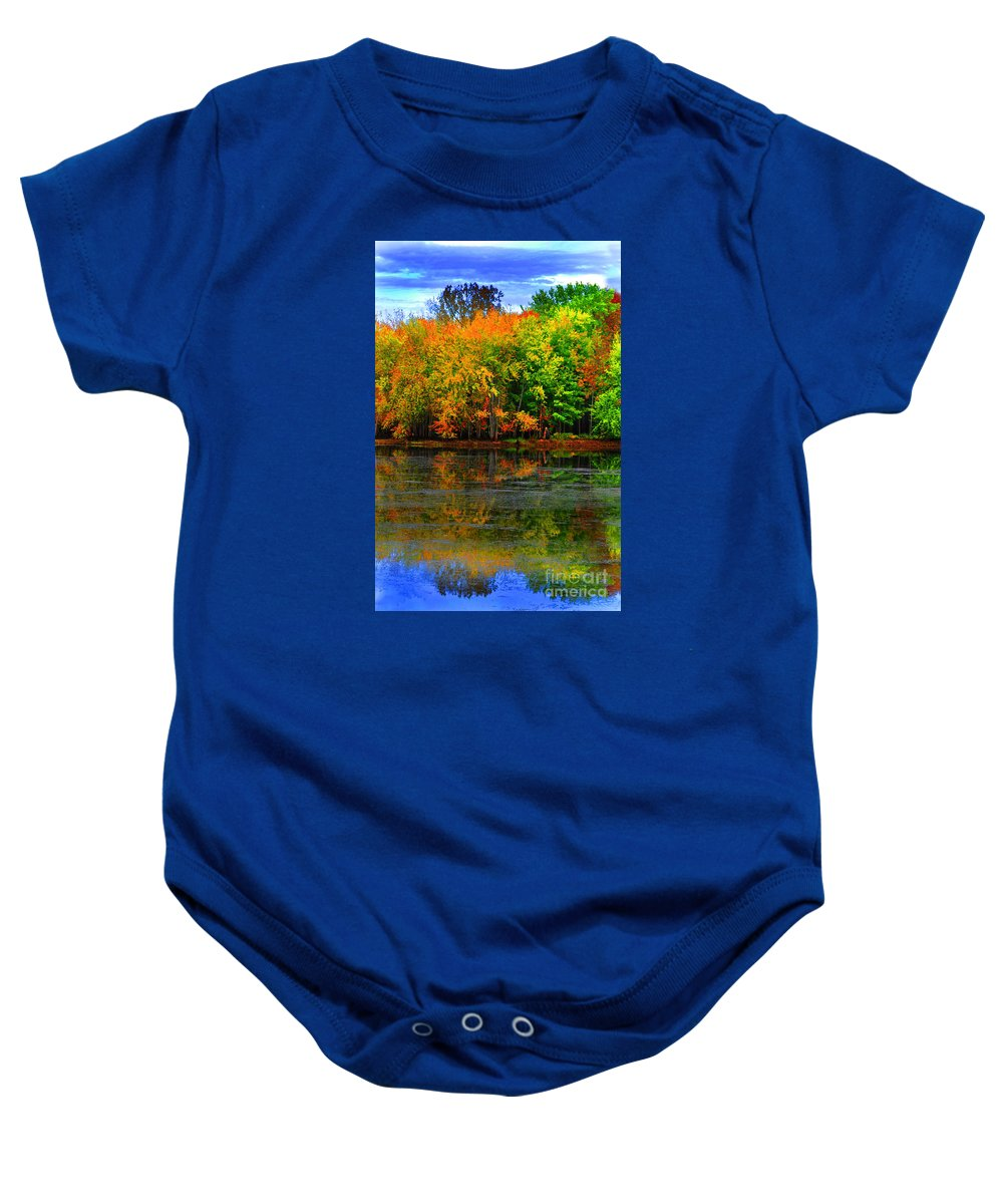 Diane Berry Baby Onesie featuring the photograph Autumn Sings by Diane E Berry